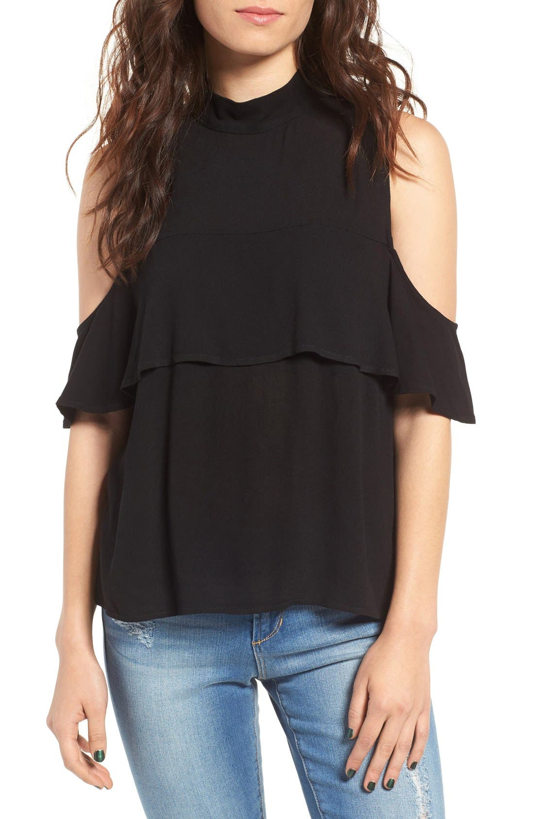 Ruffle Cold Shoulder Top,                             Main thumbnail 1, color,                             001