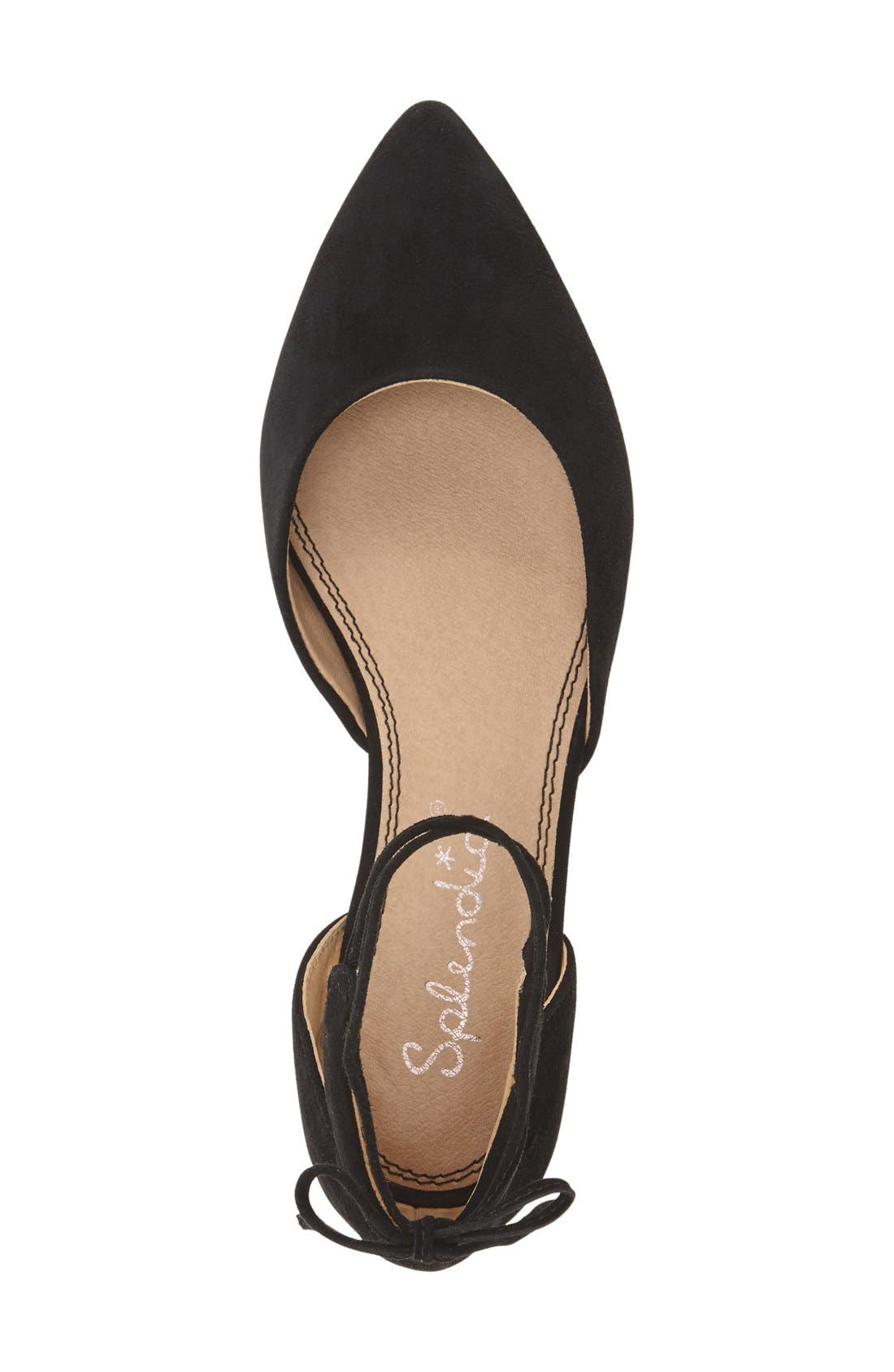 'Annabelle' Lace-Up d'Orsay Flat,                             Alternate thumbnail 4, color,                             001