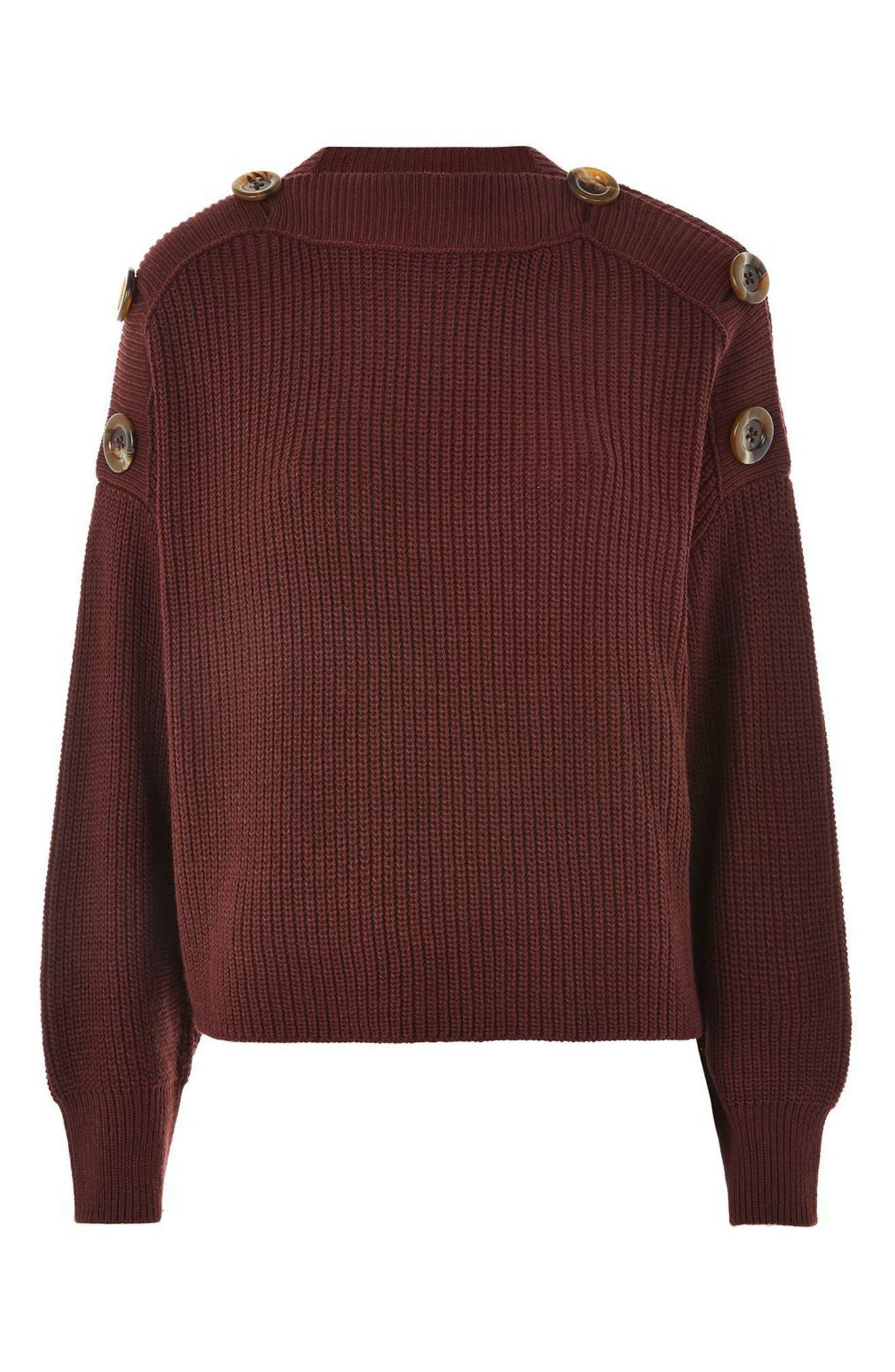 Button Slash Knit Sweater,                             Alternate thumbnail 6, color,