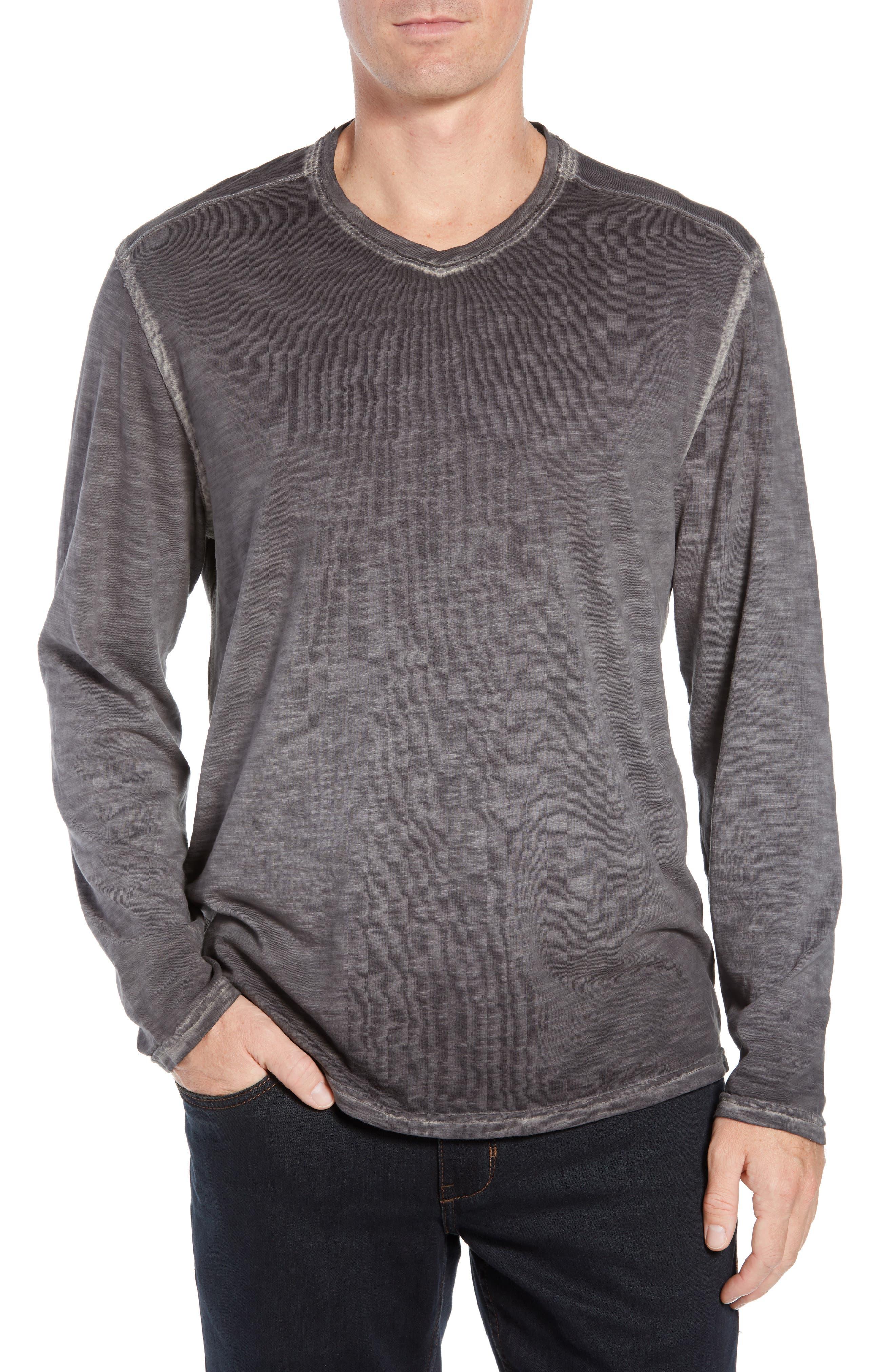 Suncoast Shores Long Sleeve V-Neck T-Shirt,                             Main thumbnail 1, color,                             COAL