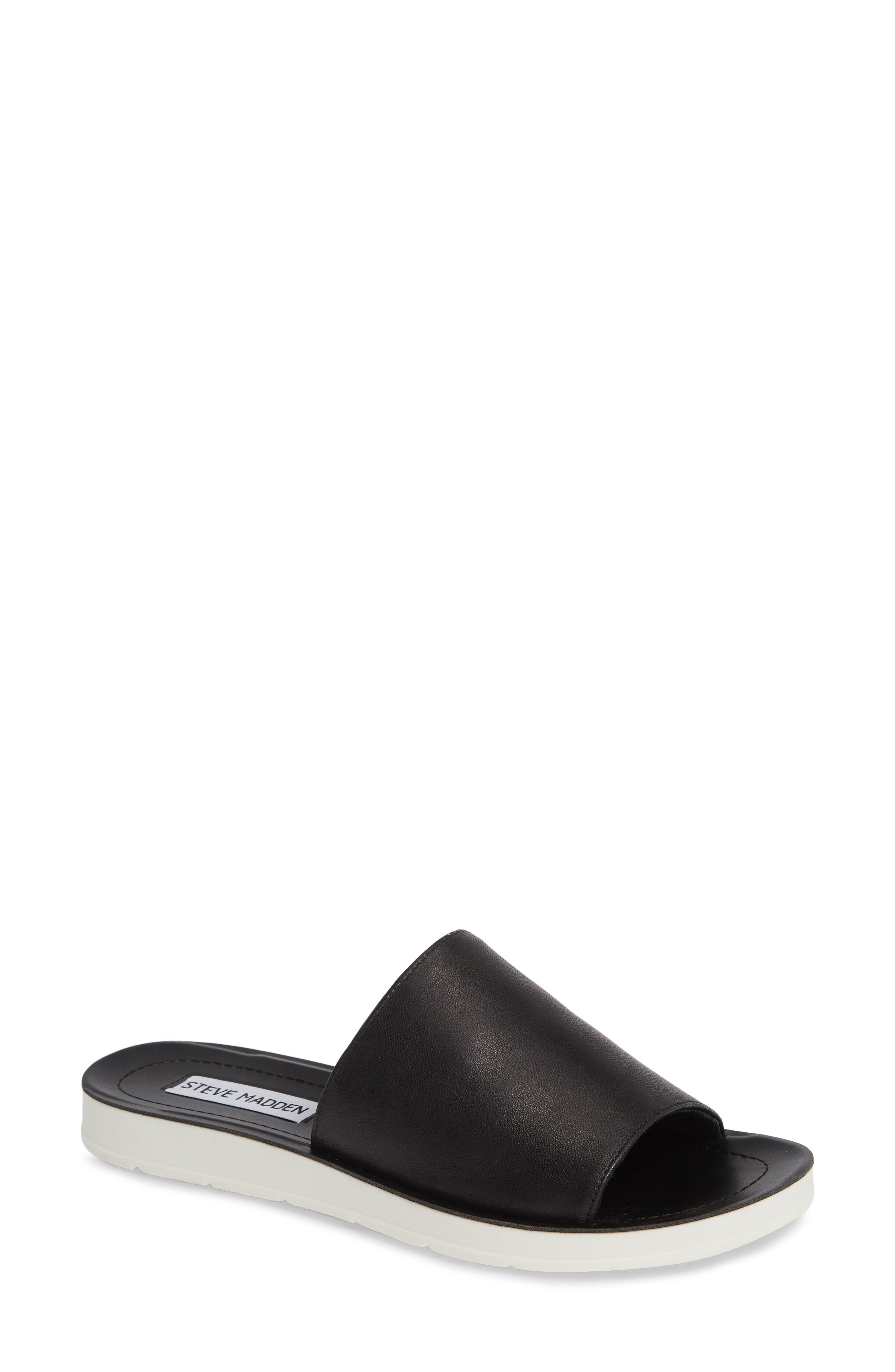 STEVE MADDEN,                             Porter Slide Sandal,                             Main thumbnail 1, color,                             BLACK LEATHER