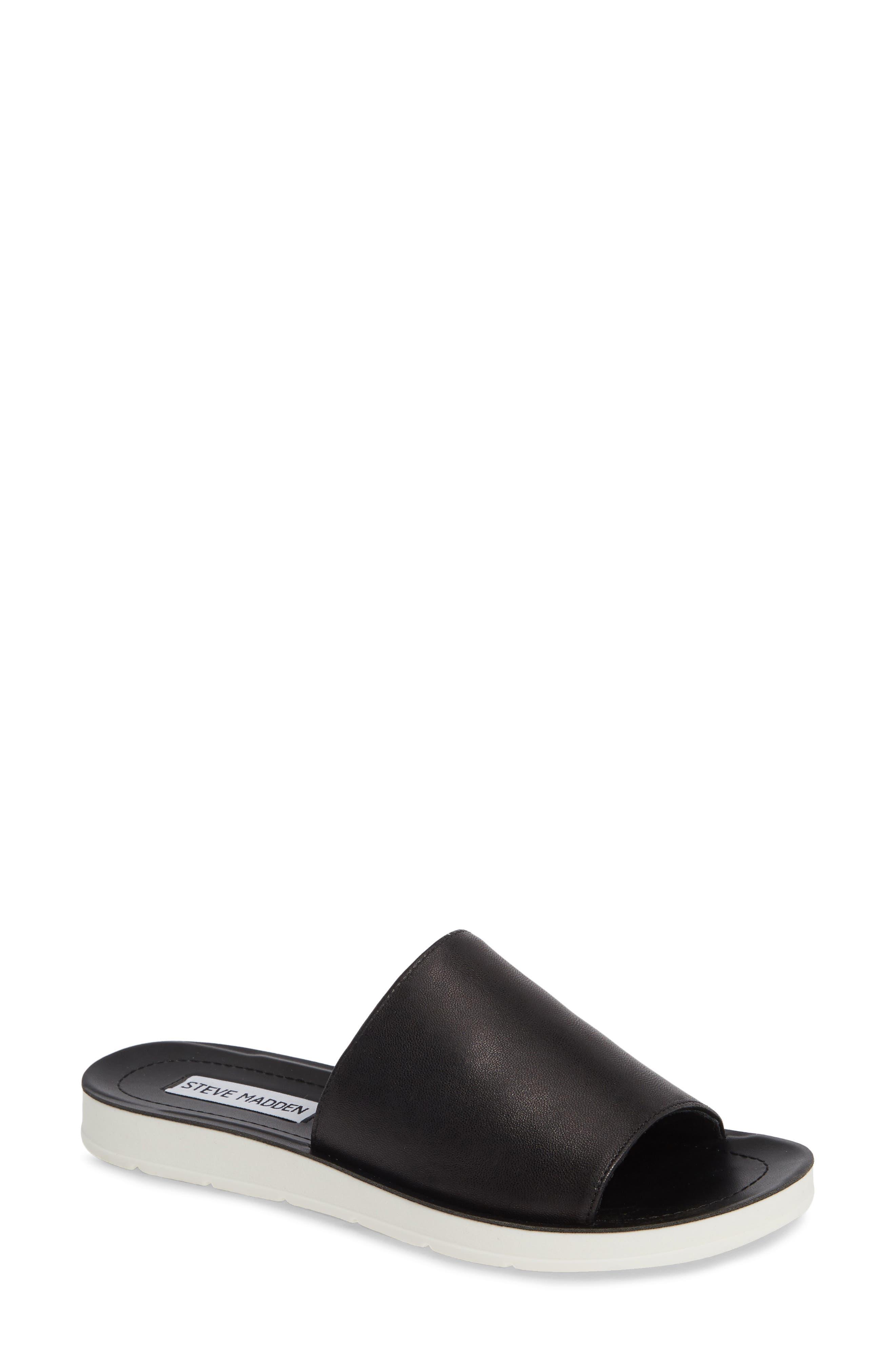 STEVE MADDEN Porter Slide Sandal, Main, color, BLACK LEATHER