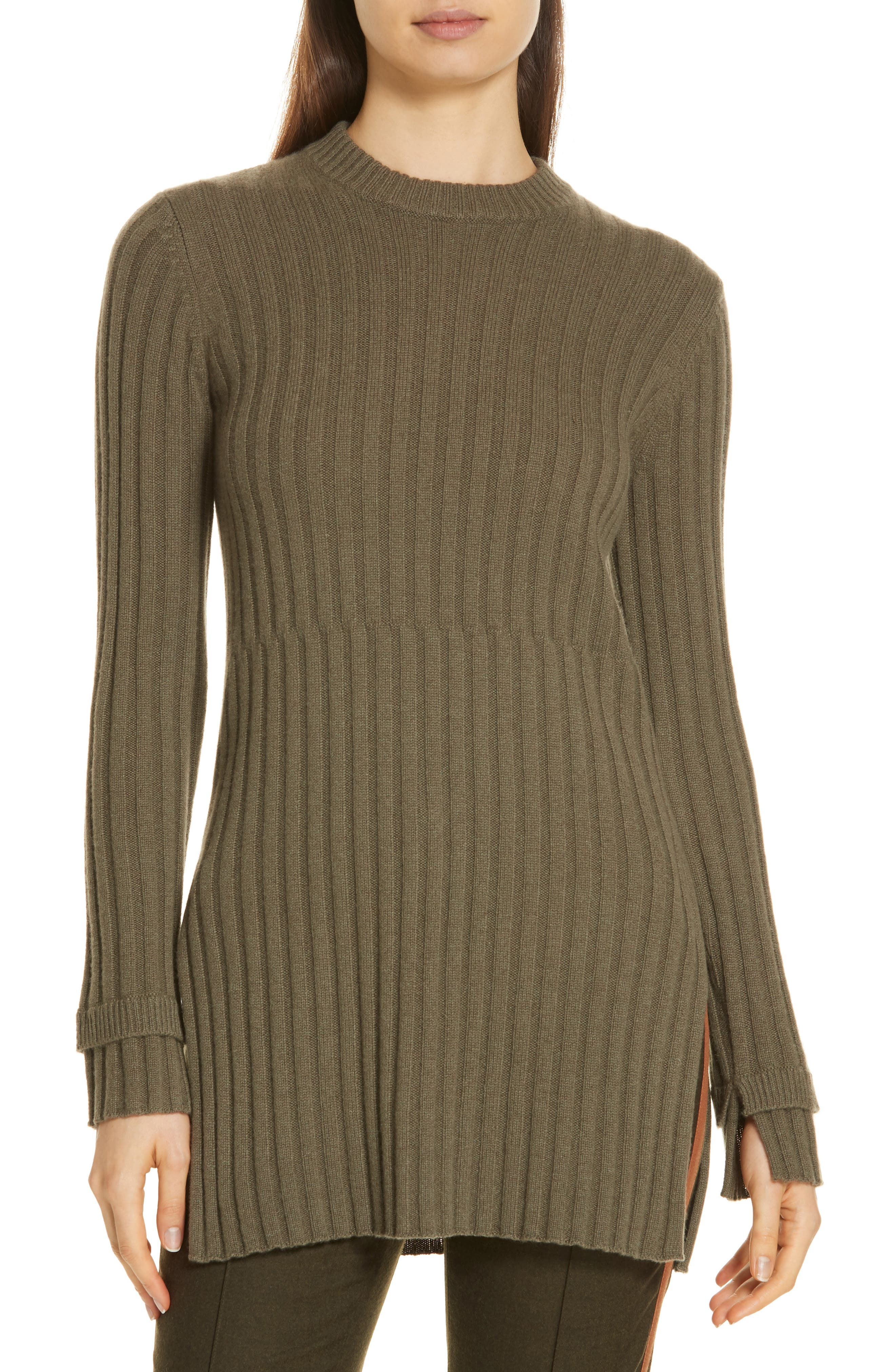 Rib Knit Cashmere Tunic,                         Main,                         color, OLIVE IVY HEATHER