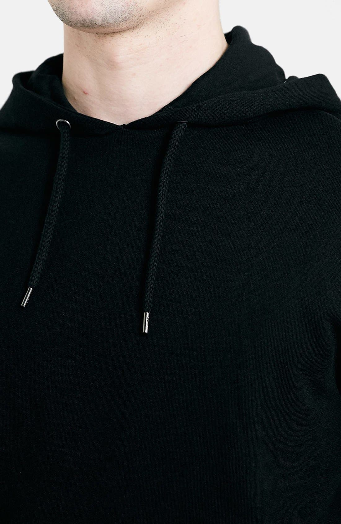 Black Quilted Hoodie,                             Alternate thumbnail 2, color,                             001