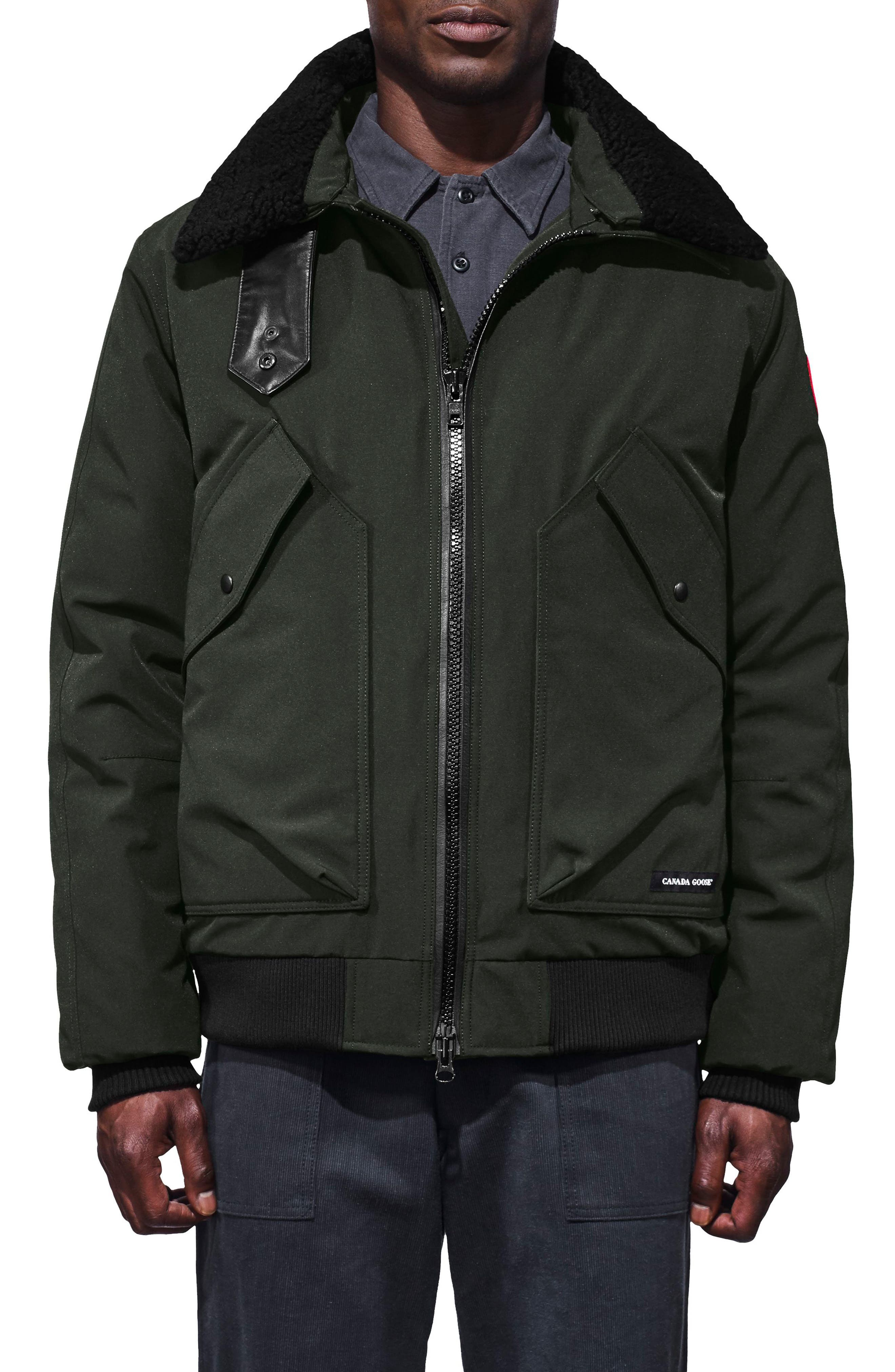 CANADA GOOSE,                             Bromley Slim Fit Down Bomber Jacket with Genuine Shearling Collar,                             Main thumbnail 1, color,                             VOLCANO