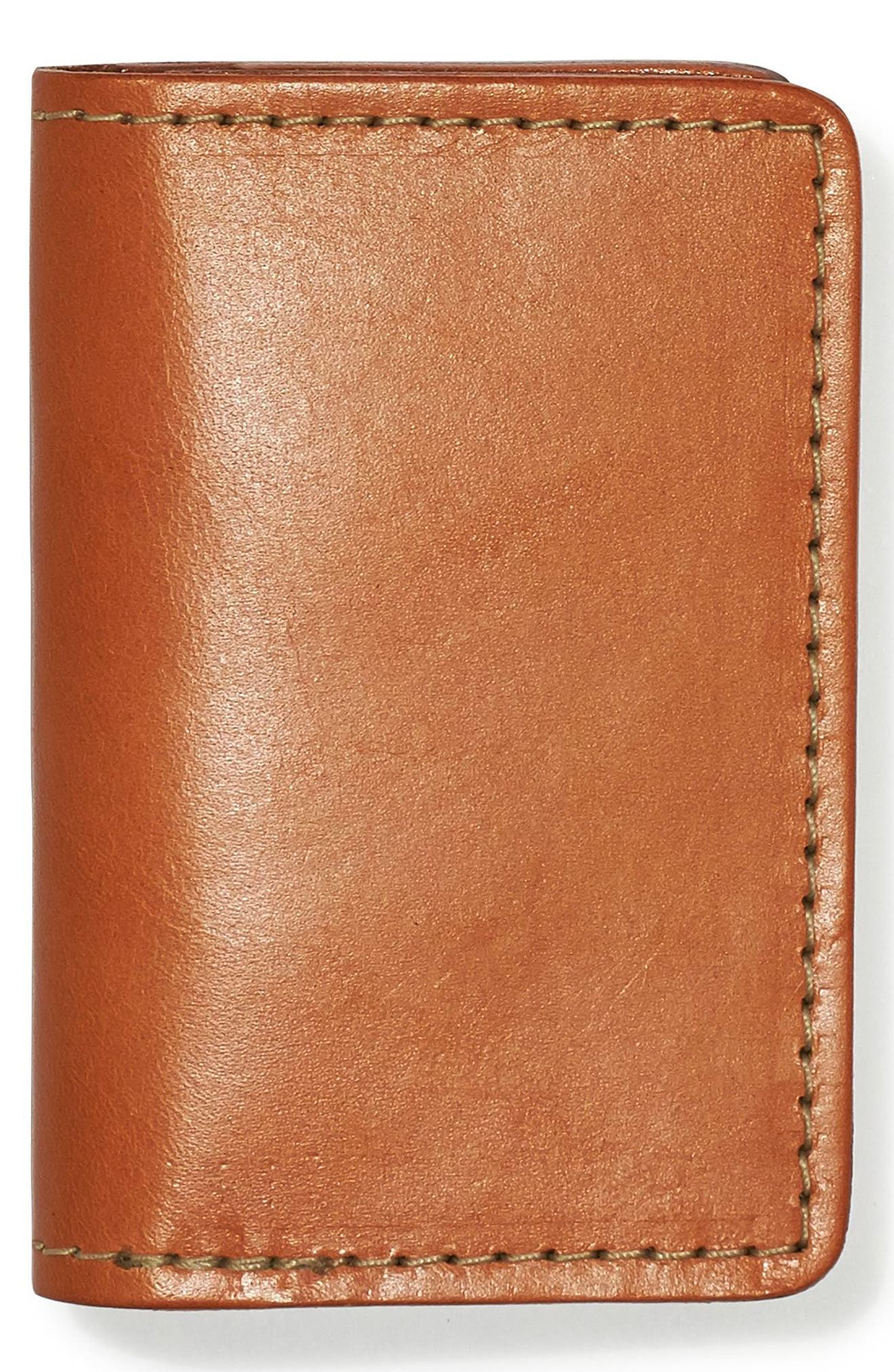 Leather Bifold Card Case,                             Main thumbnail 1, color,                             TAN LEATHER