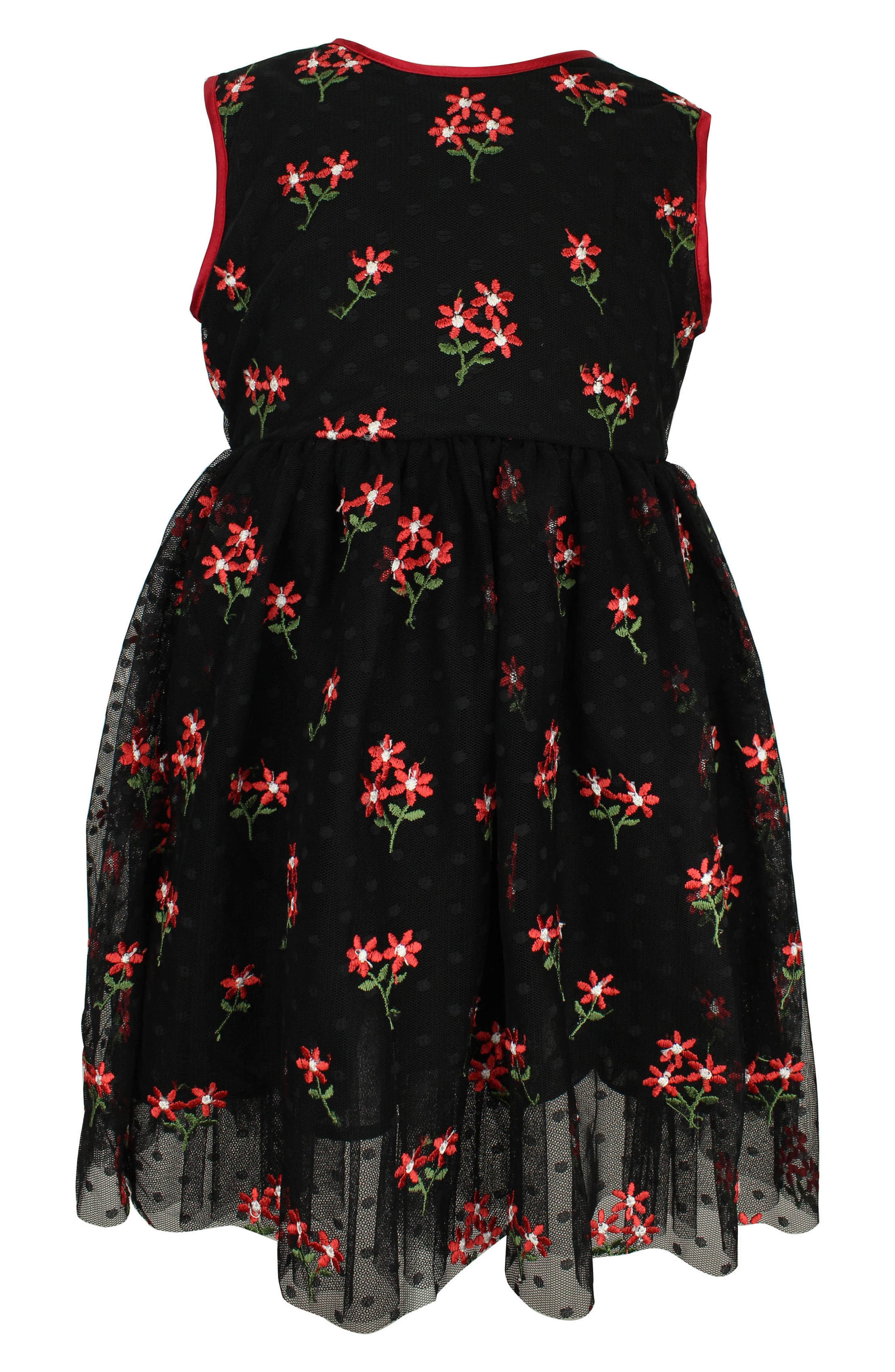 Embroidered Flower Fit & Flare Dress, Main, color, BLACK