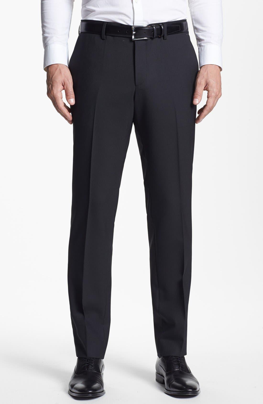 BOSS HUGO BOSS 'Genesis' Flat Front Trousers,                             Main thumbnail 1, color,                             001