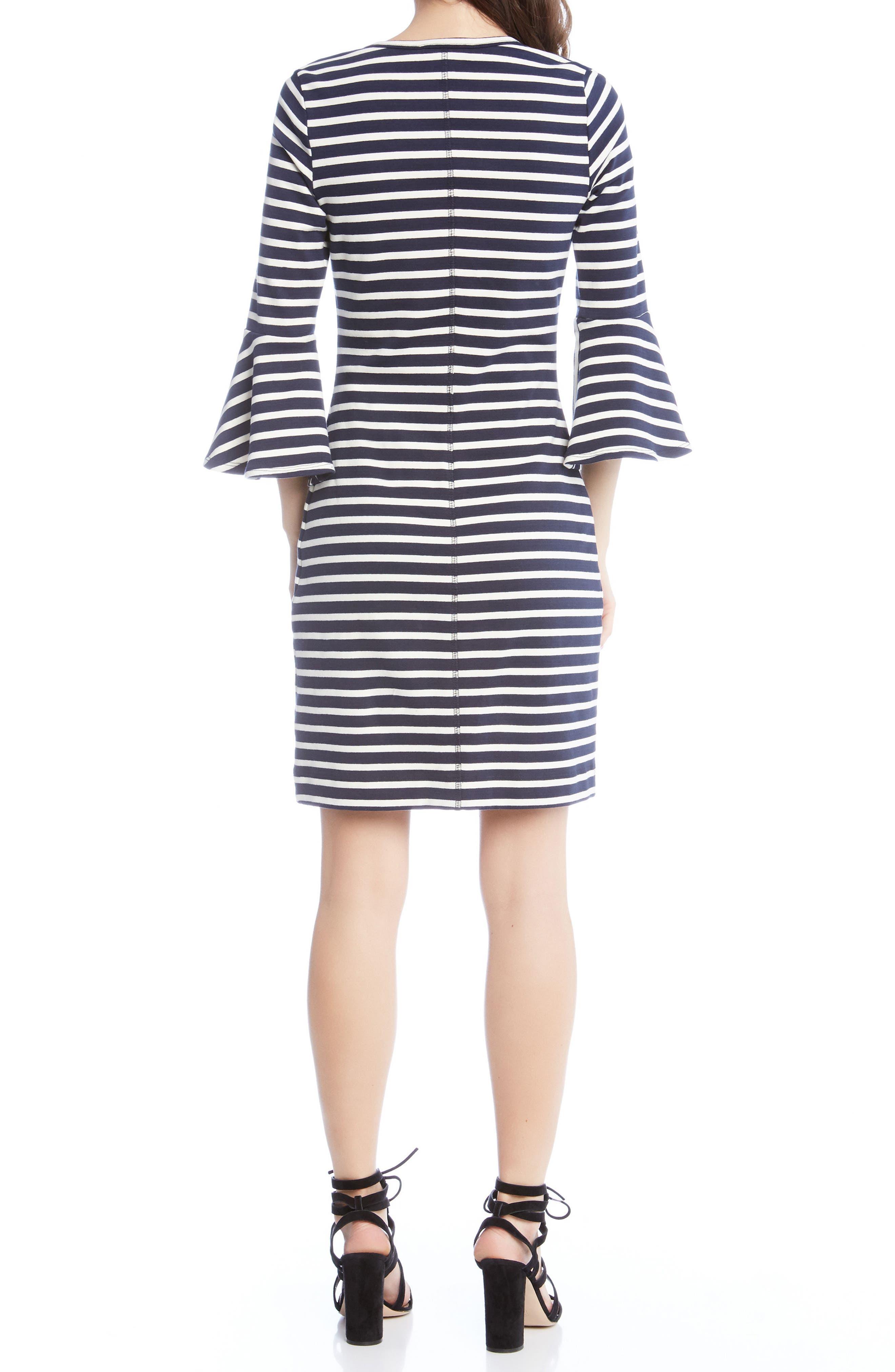 Flare Sleeve Stripe Dress,                             Alternate thumbnail 2, color,                             001