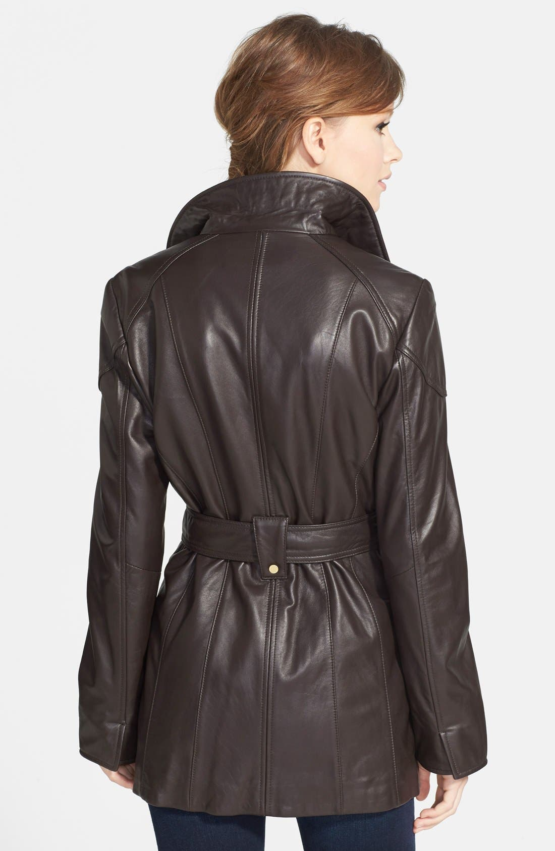 Leather Trench Jacket,                             Alternate thumbnail 12, color,