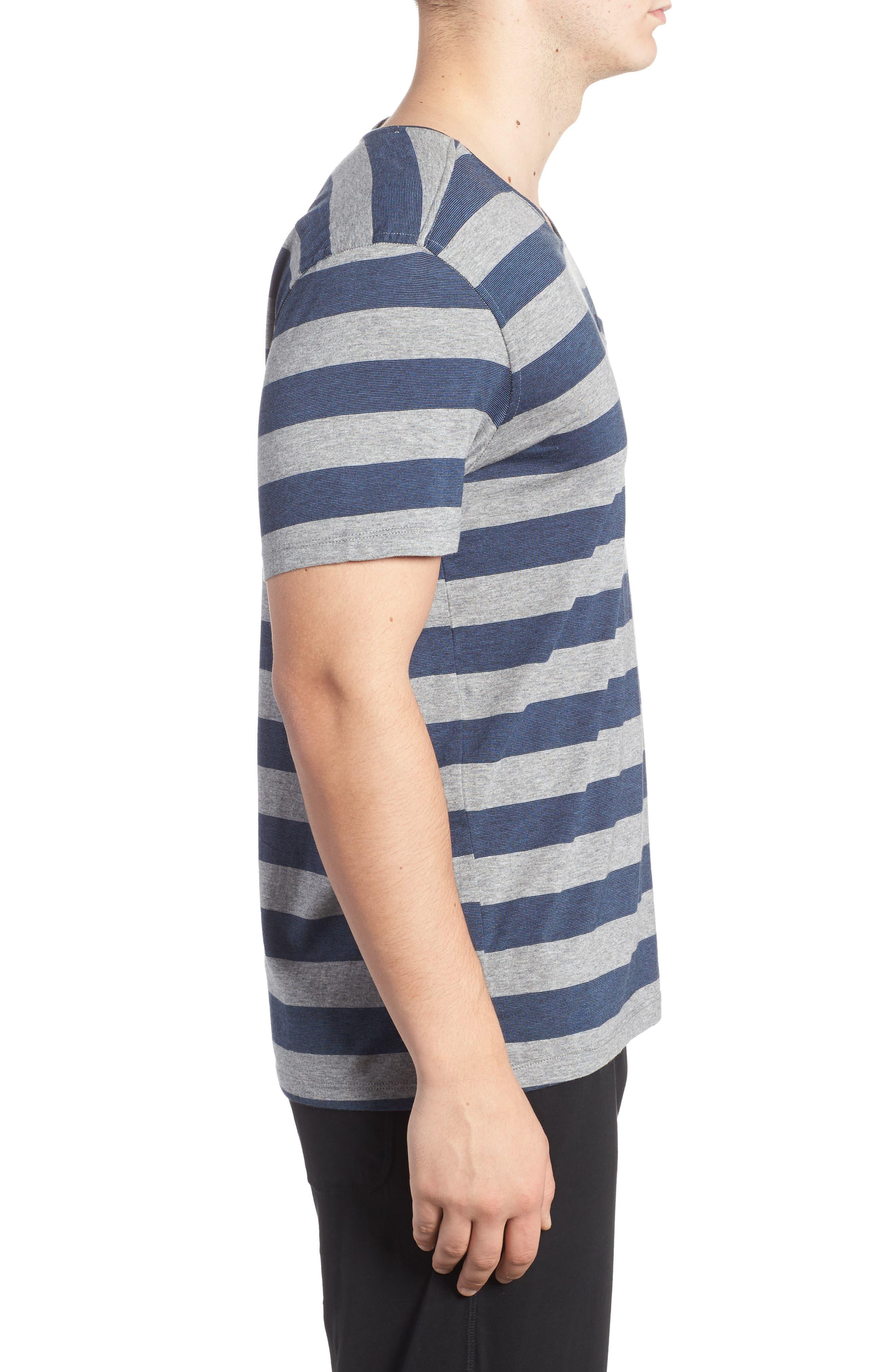 Stripe Pima Cotton & Modal V-Neck T-Shirt,                             Alternate thumbnail 3, color,                             020