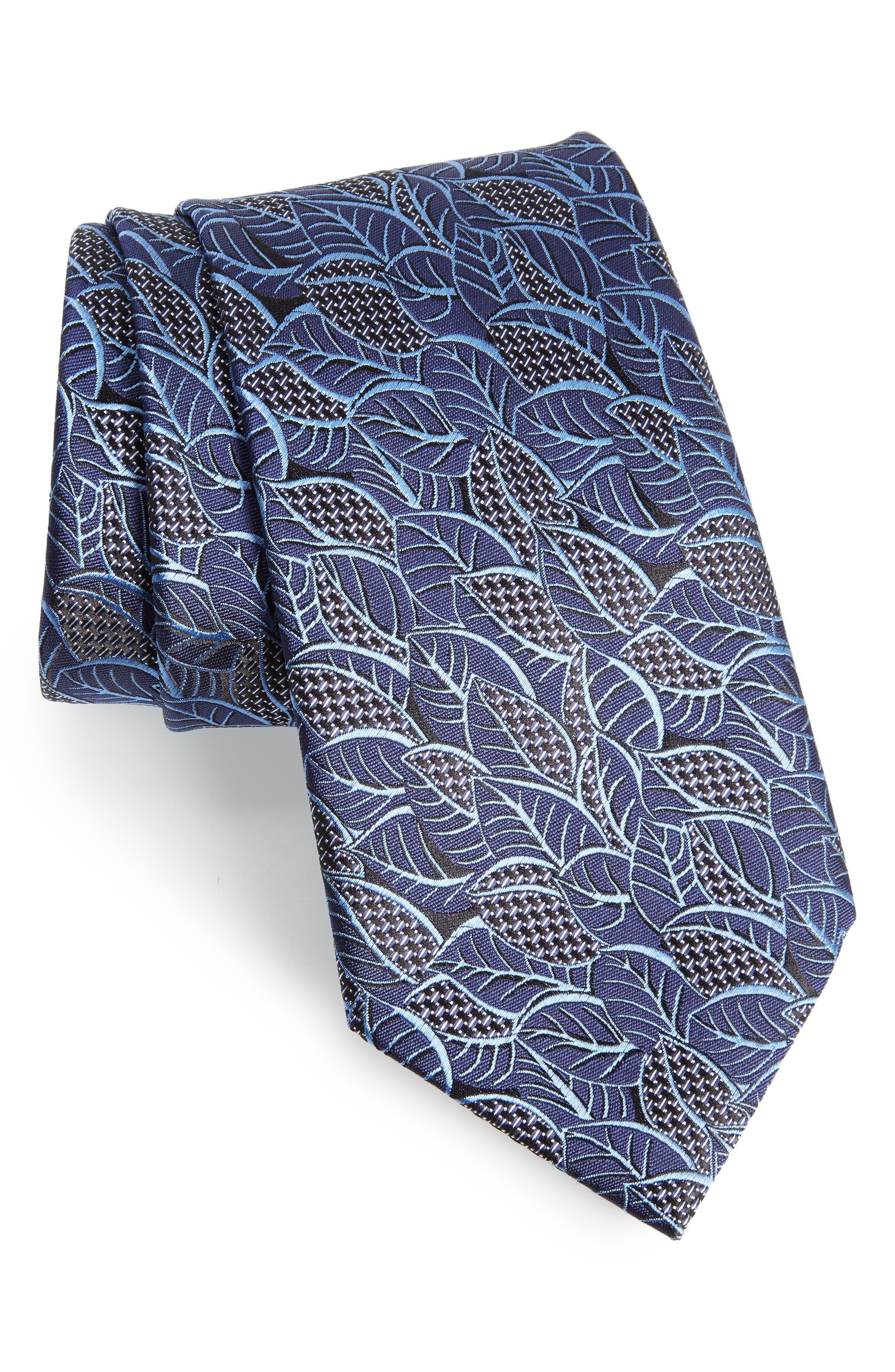 Leaf Silk Tie,                         Main,                         color, BLUE