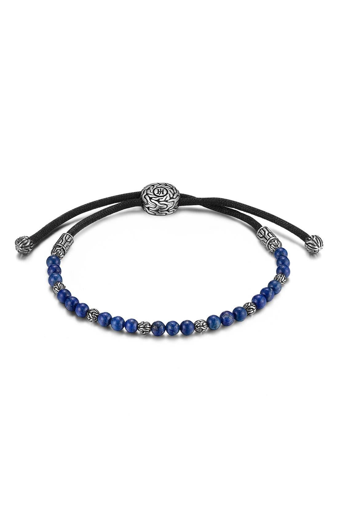 'Classic Chain' Beaded Friendship Bracelet,                             Main thumbnail 1, color,                             SILVER/ LAPIS LAZULI