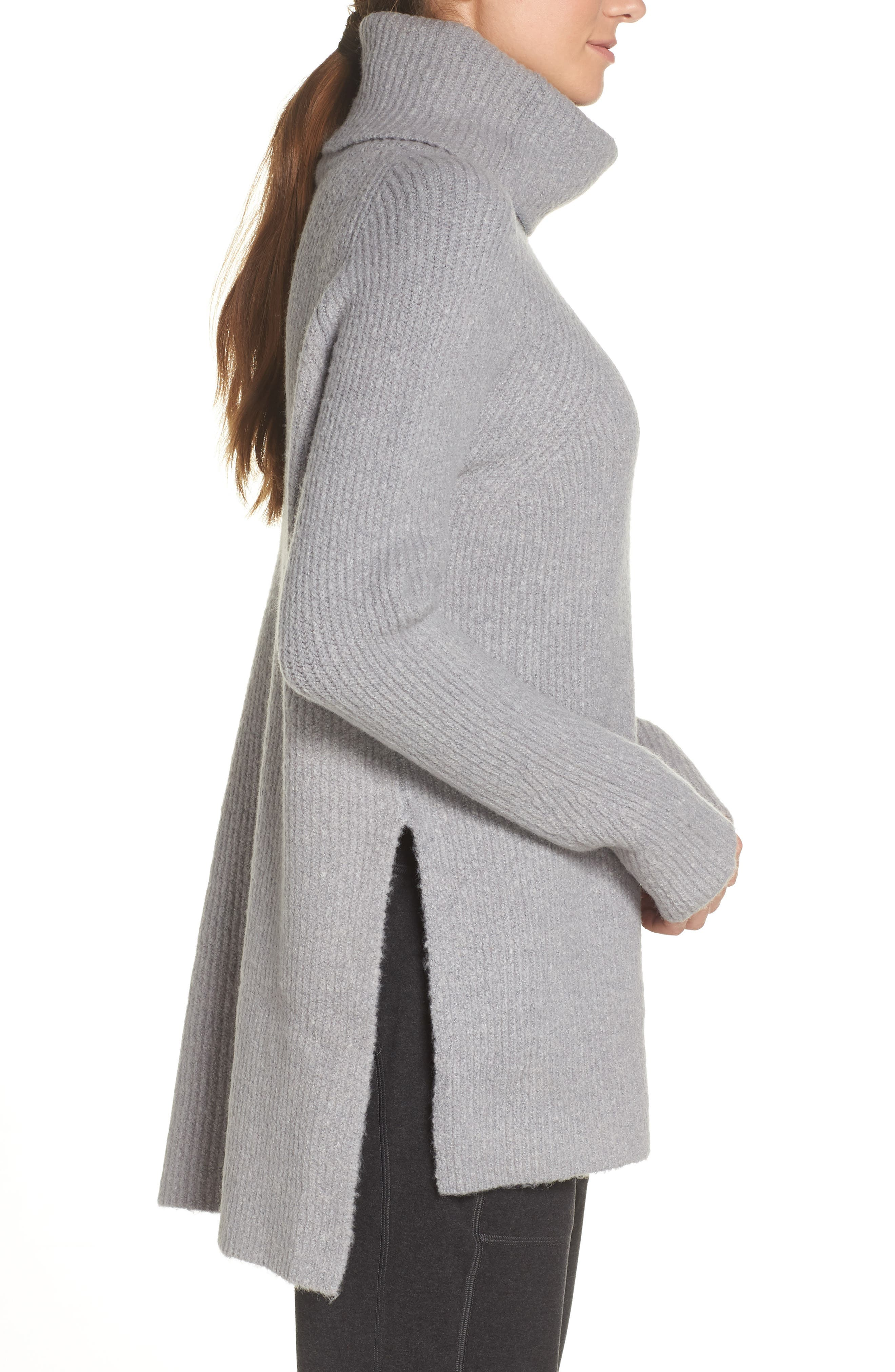 Shakti Oversize Sweater,                             Alternate thumbnail 3, color,                             SILVER GREY MARL
