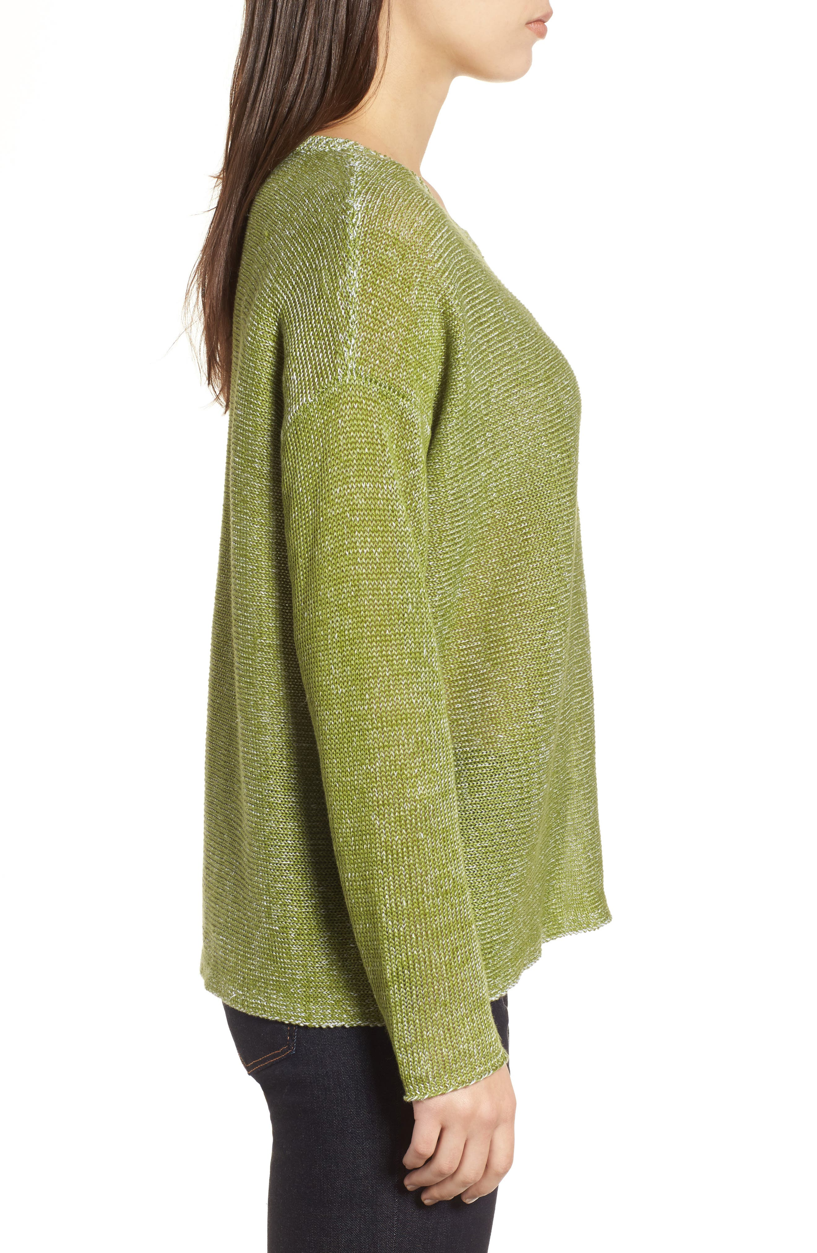 Boxy Organic Linen Sweater,                             Alternate thumbnail 3, color,                             308