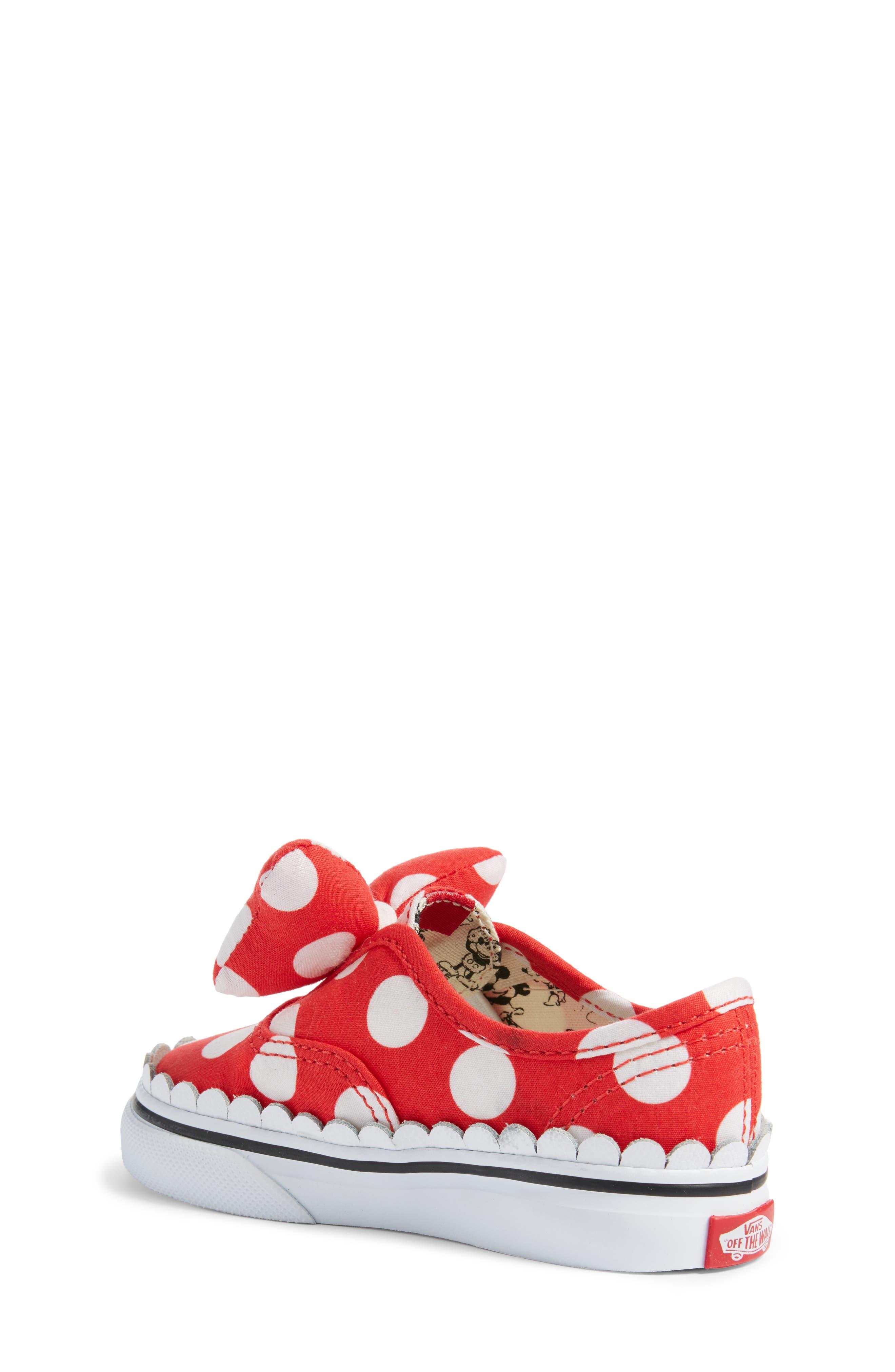 x Disney Authentic Gore Minnie Mouse Bow Slip-On Sneaker,                             Alternate thumbnail 2, color,                             DISNEY MINNIE BOW TRUE WHITE