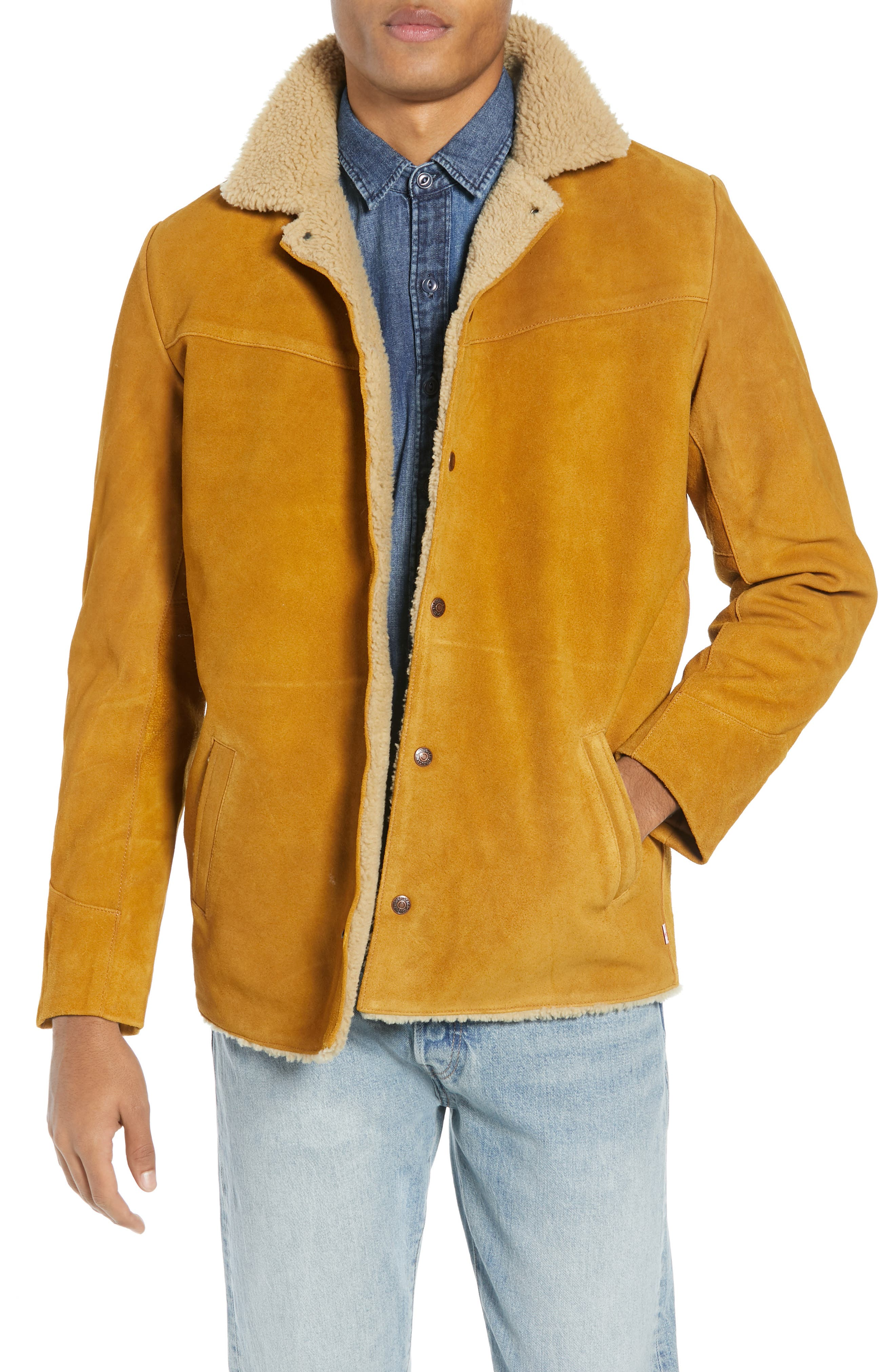 Levi's<sup>®</sup> Fleece Lined Suede Jacket,                             Main thumbnail 1, color,                             250