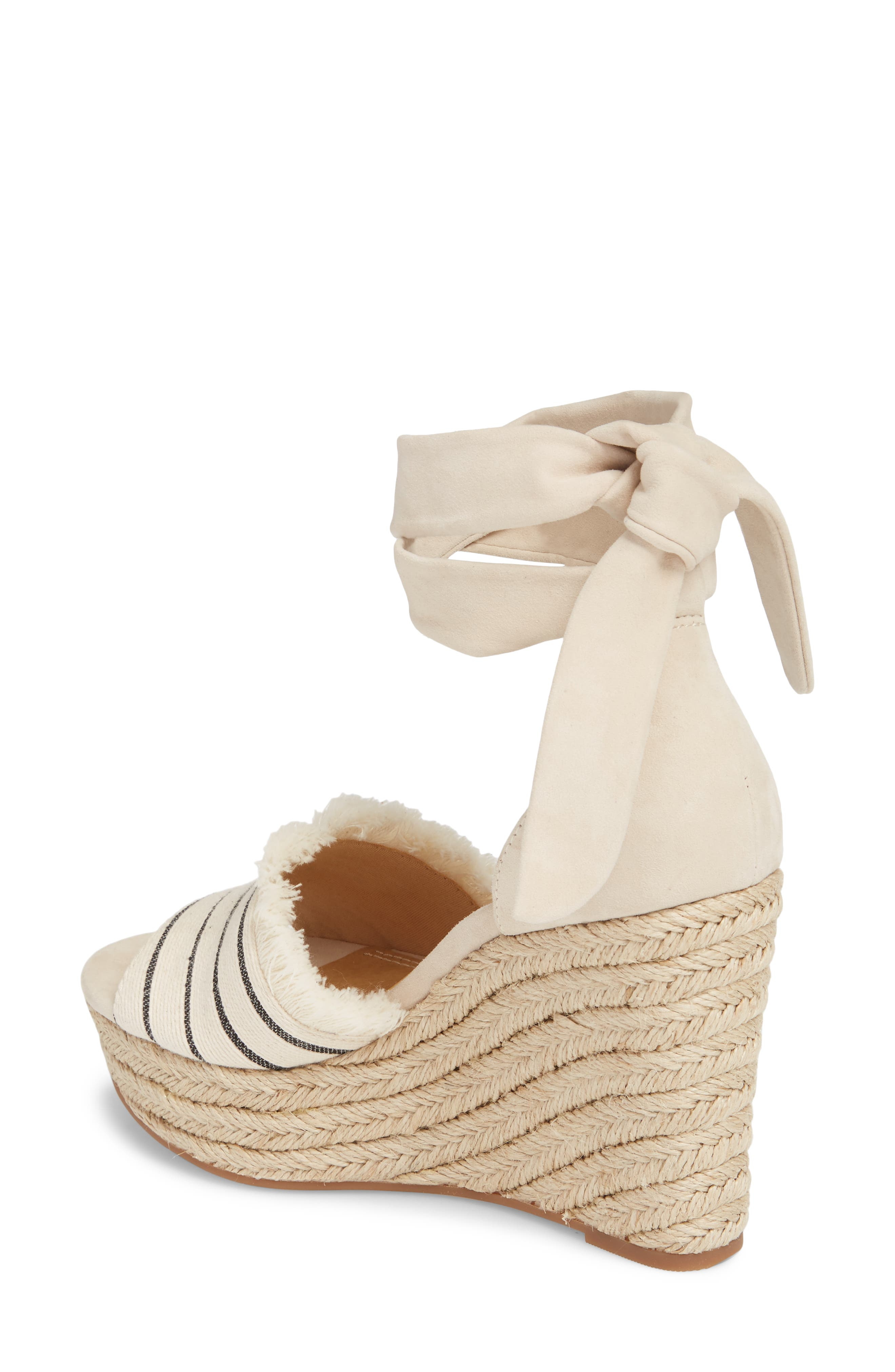 Barke Fringed Platform Wedge Sandal,                             Alternate thumbnail 2, color,                             100