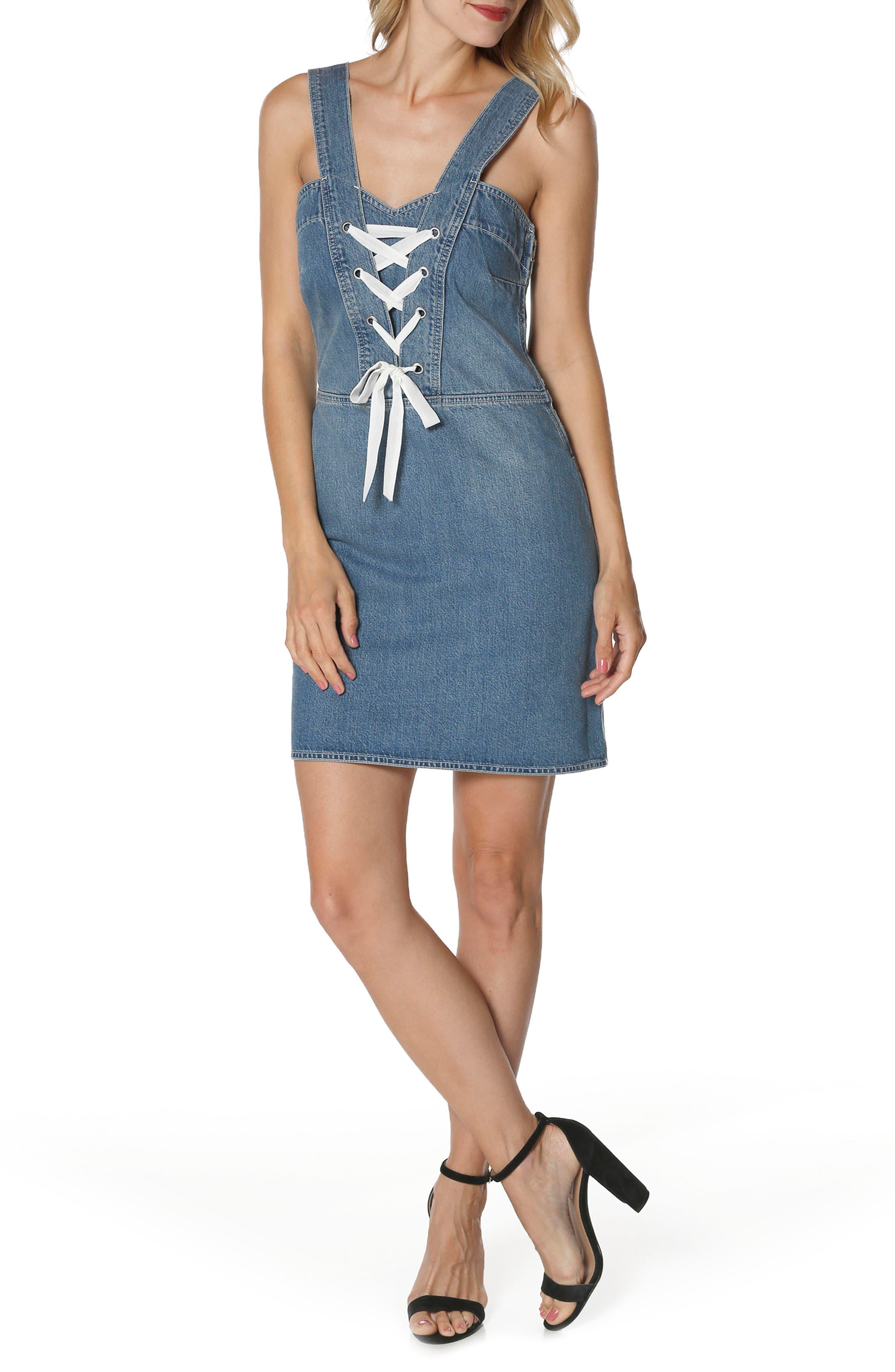 Tula Lace-Up Denim Dress,                             Main thumbnail 1, color,                             400