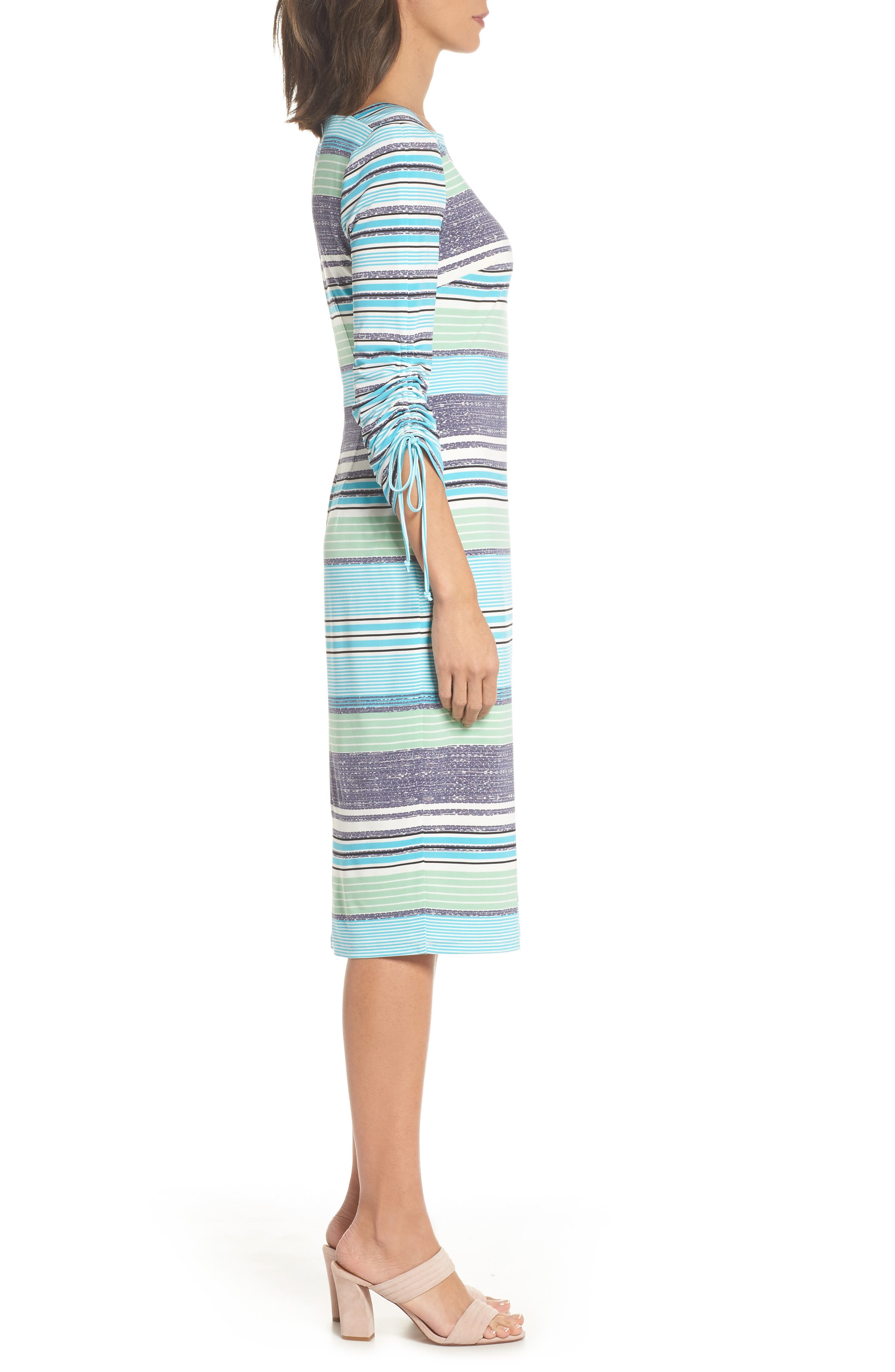Ruched Sleeve Sheath Dress,                             Alternate thumbnail 3, color,                             WHITE/ AQUA