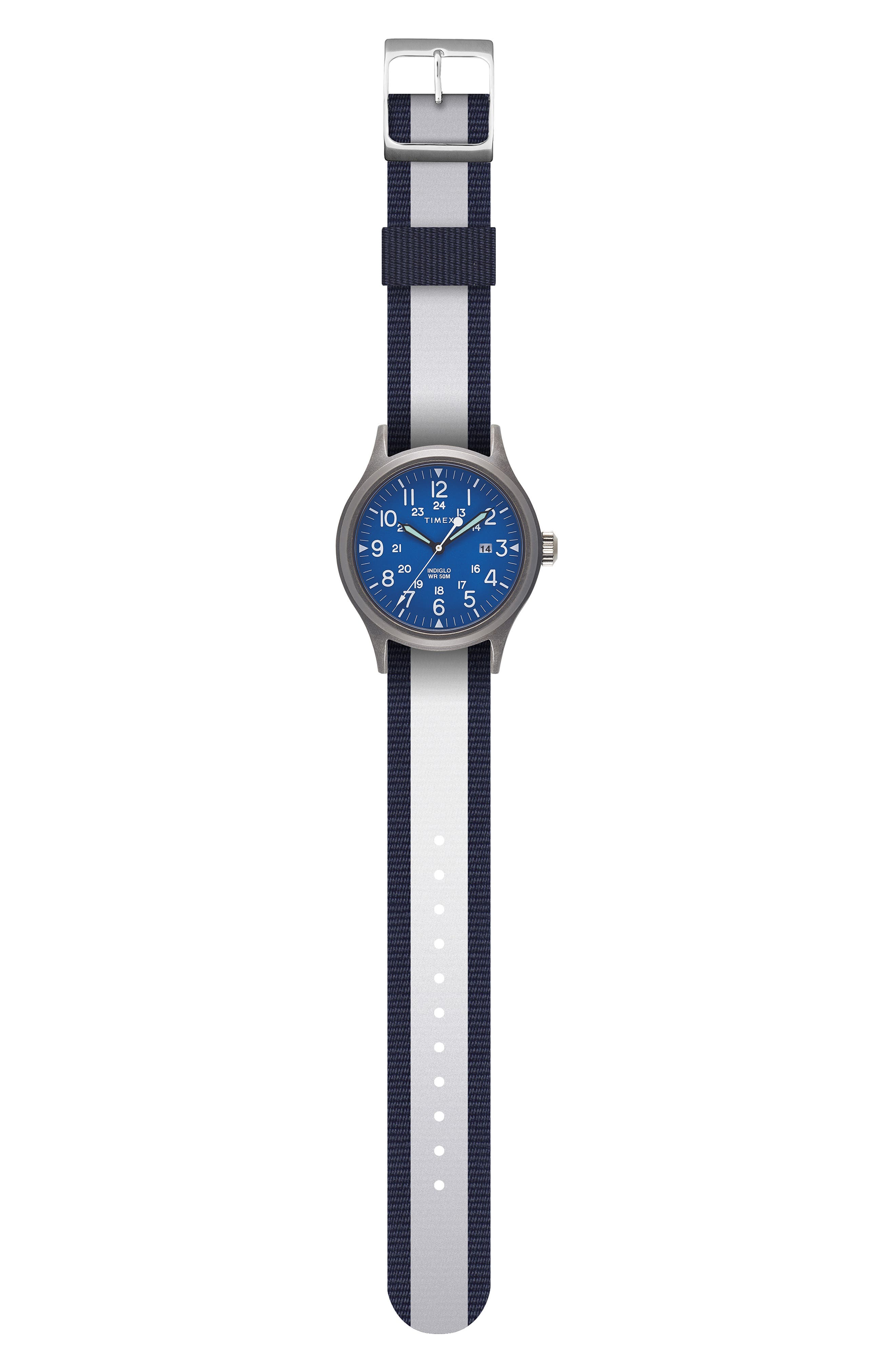 Allied Reversible Strap Watch, 40mm,                             Alternate thumbnail 3, color,                             SILVER/ BLUE