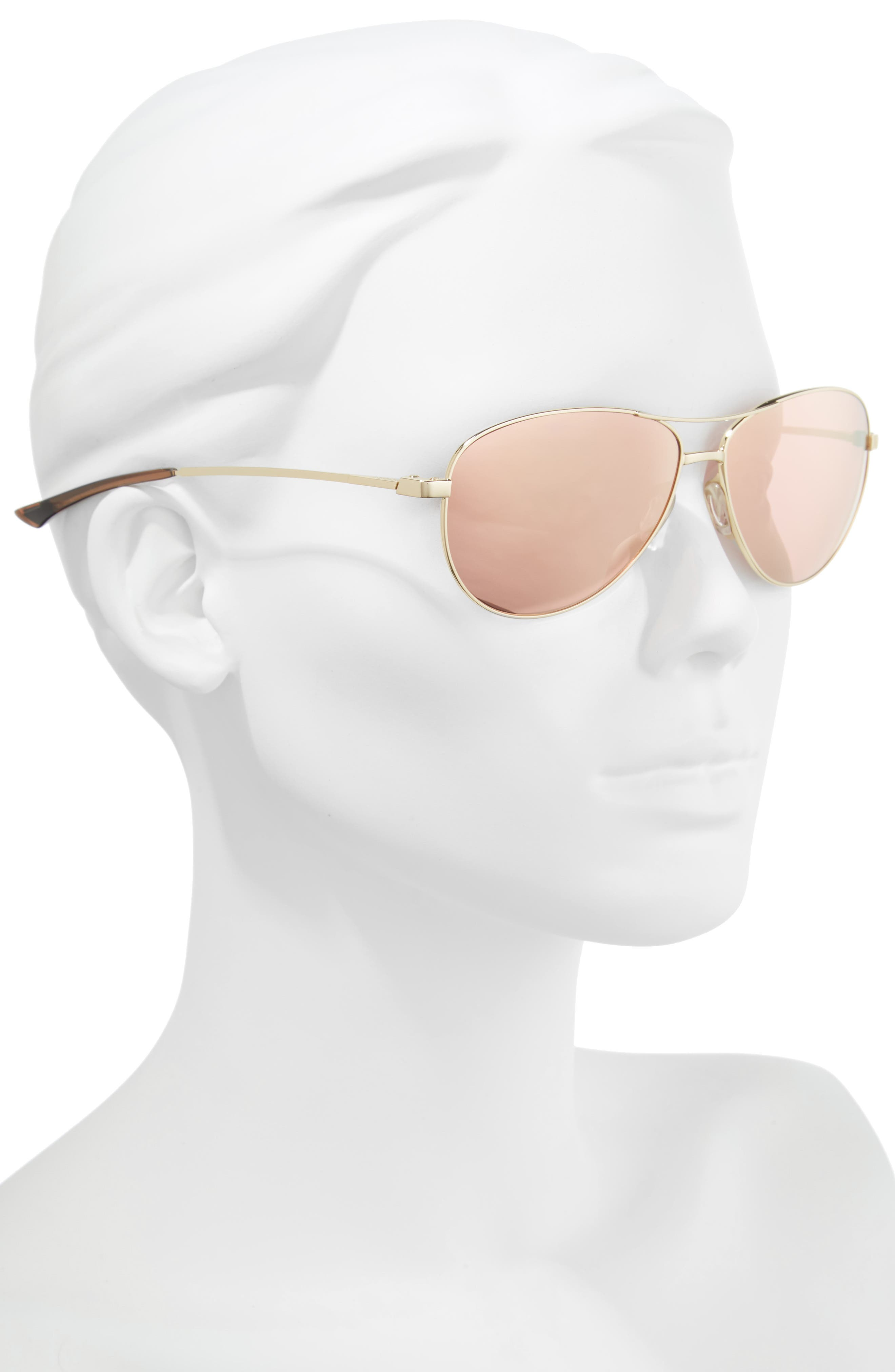SMITH,                             'Langley' 60mm Aviator Sunglasses,                             Alternate thumbnail 2, color,                             GOLD