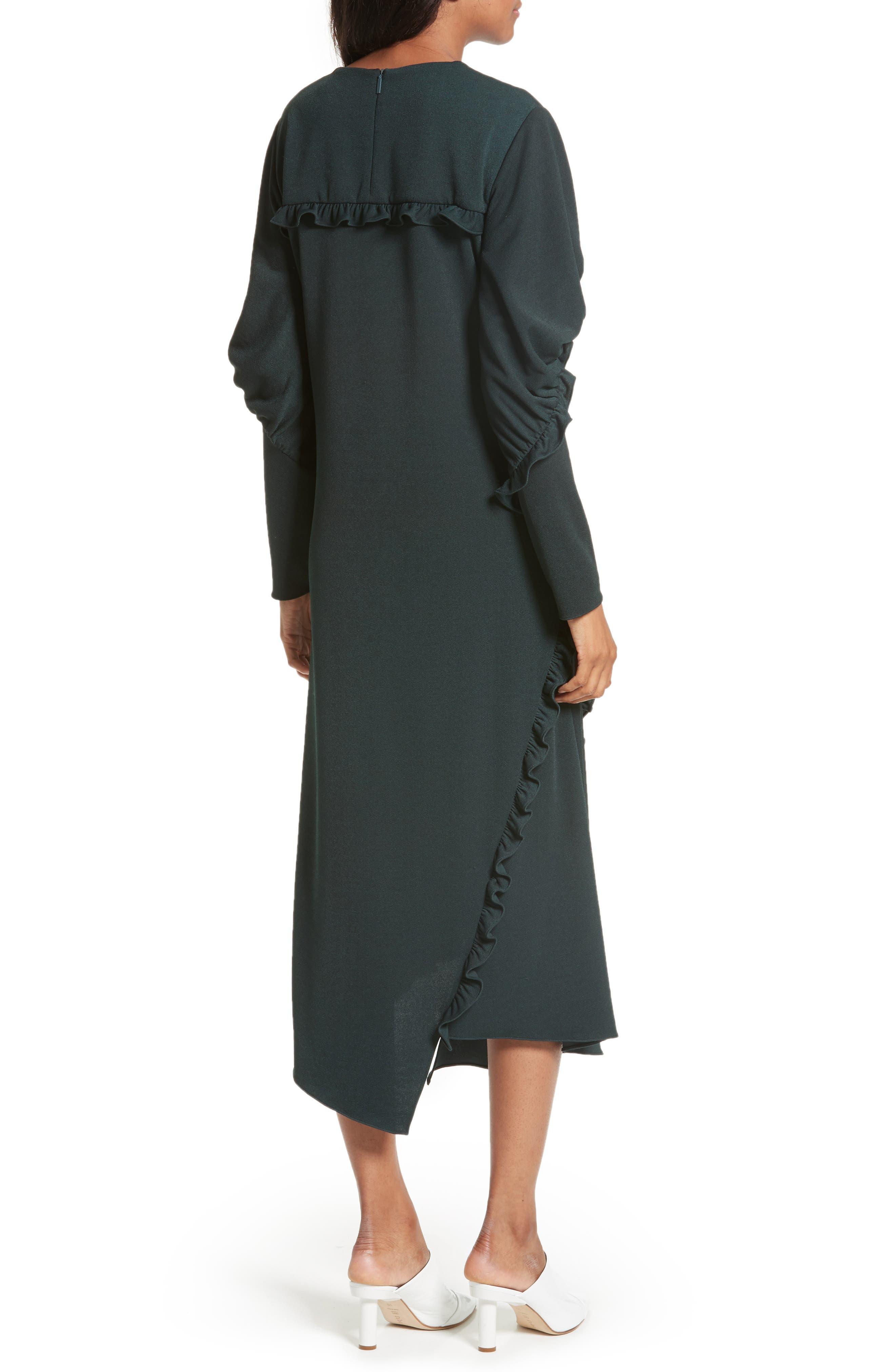 Ruffled Crepe Knit Midi Dress,                             Alternate thumbnail 2, color,                             303