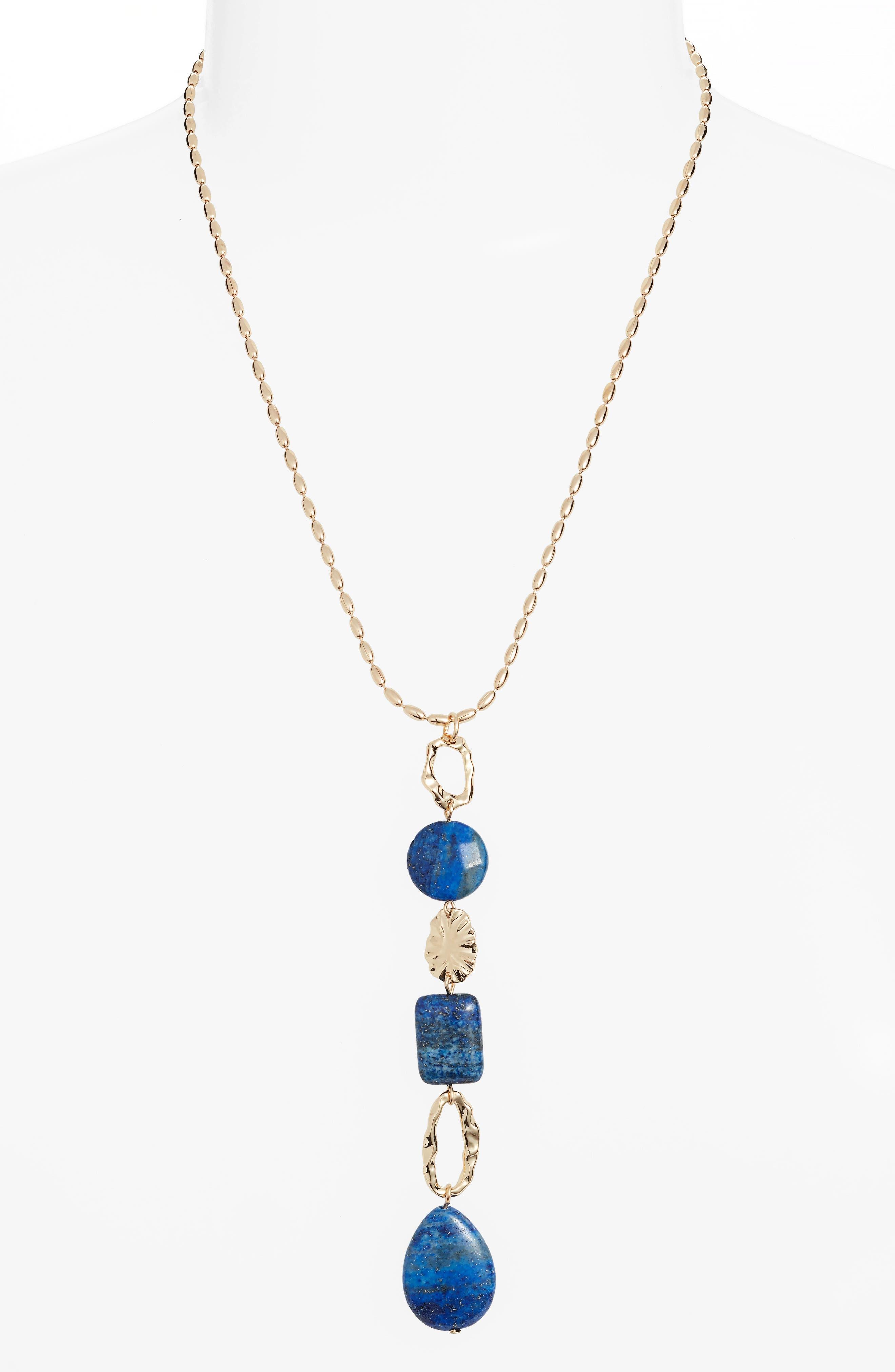 Molten Semiprecious Stone Y-Necklace,                             Main thumbnail 1, color,                             LAPIS- GOLD