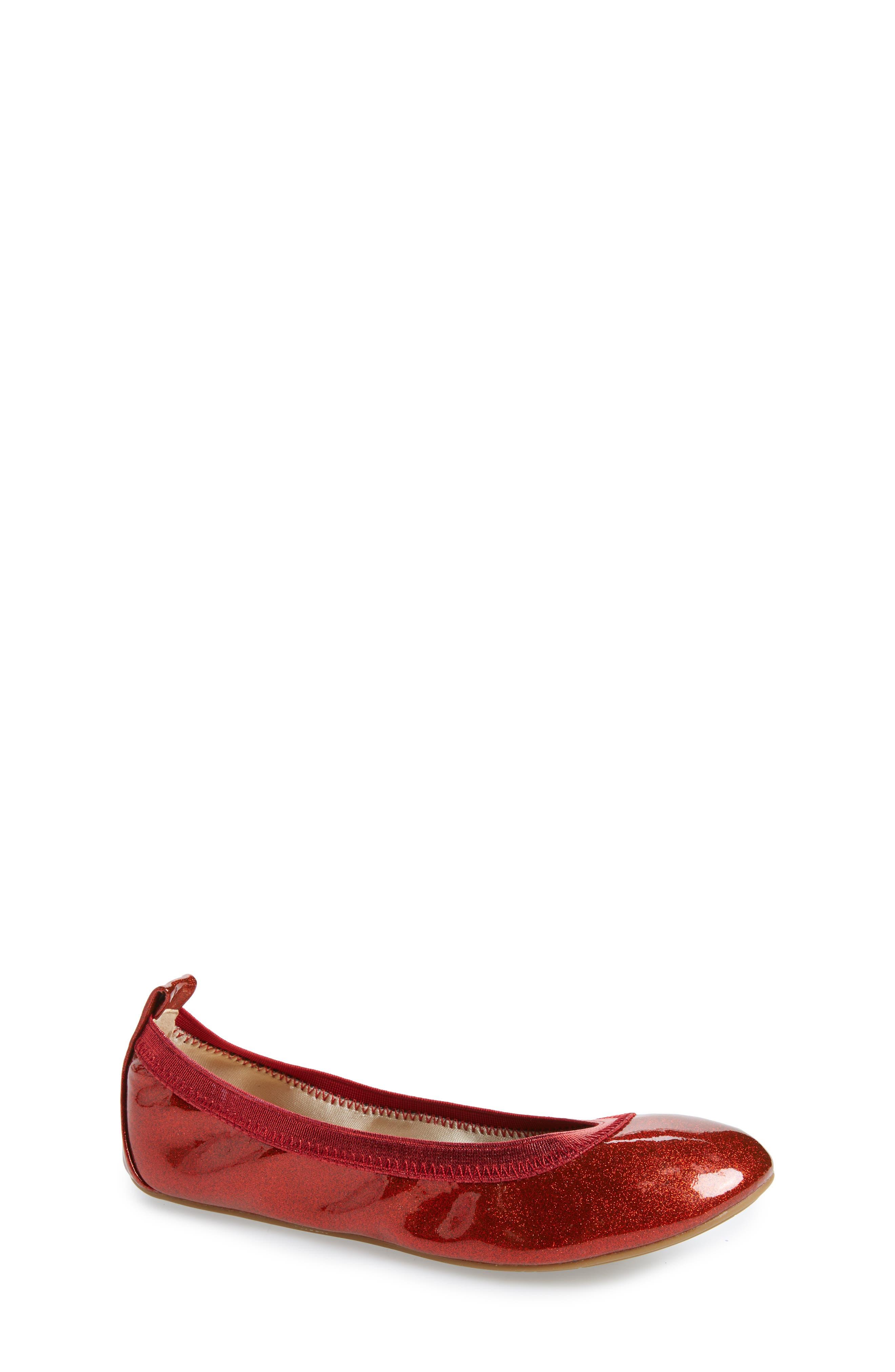 Miss Samara Ballet Flat,                             Main thumbnail 1, color,                             RED PATENT GLITTER