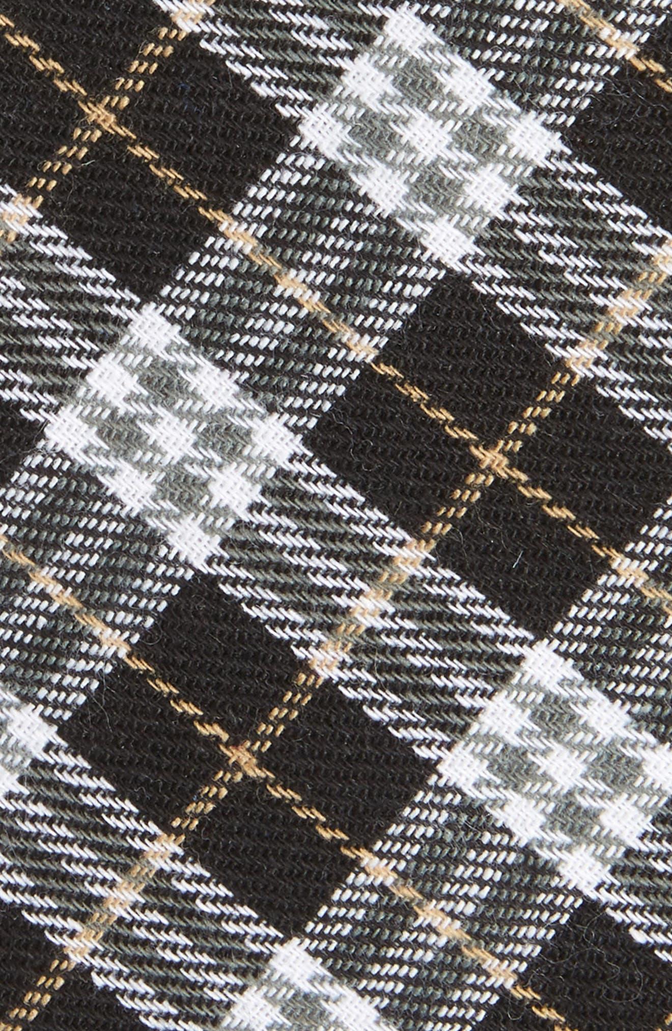 Siegel Plaid Cotton & Linen Skinny Tie,                             Alternate thumbnail 4, color,