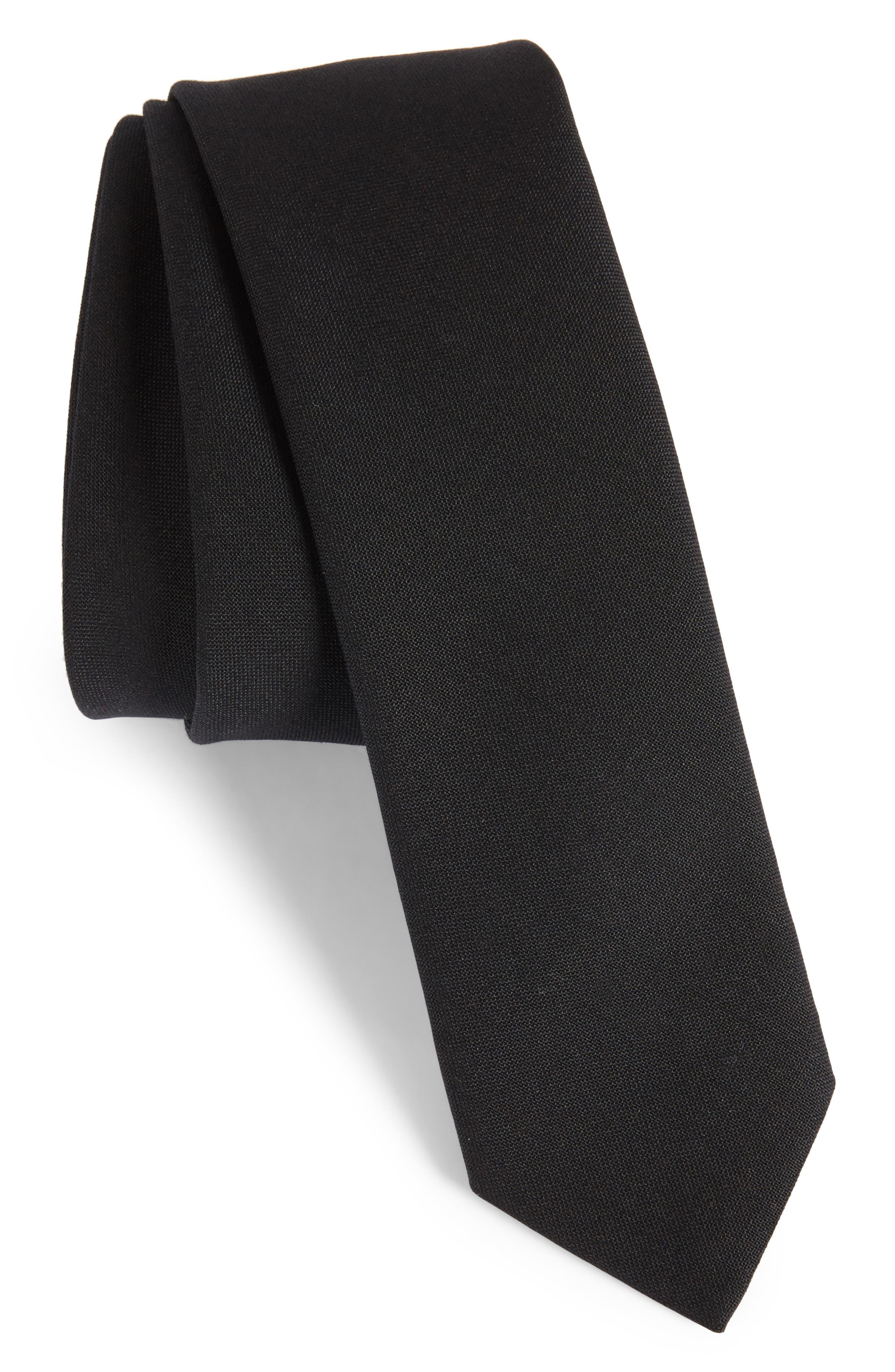 Marled Wool Skinny Tie,                         Main,                         color, 001