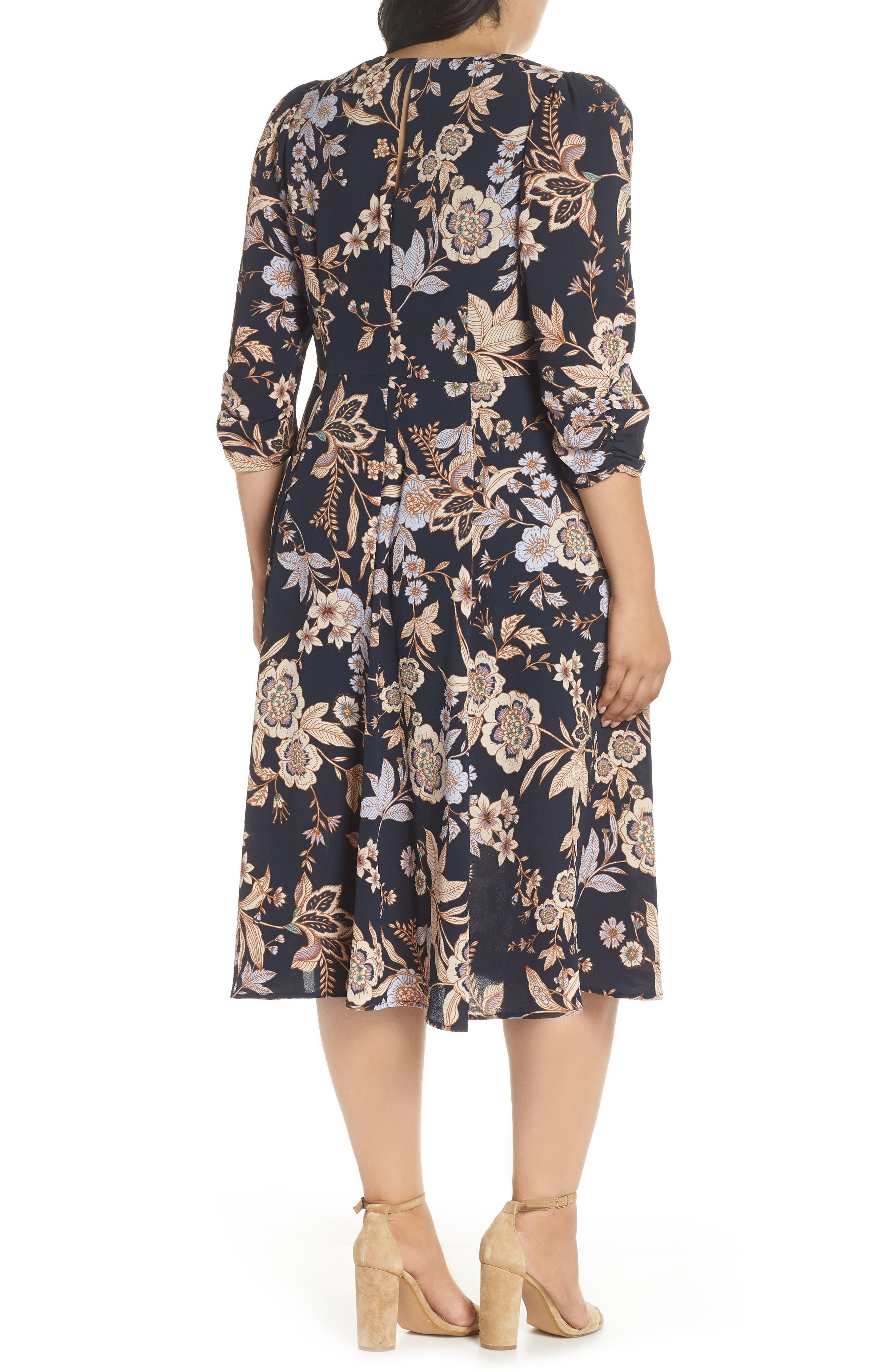 Floral Fit & Flare Dress,                             Alternate thumbnail 2, color,                             410