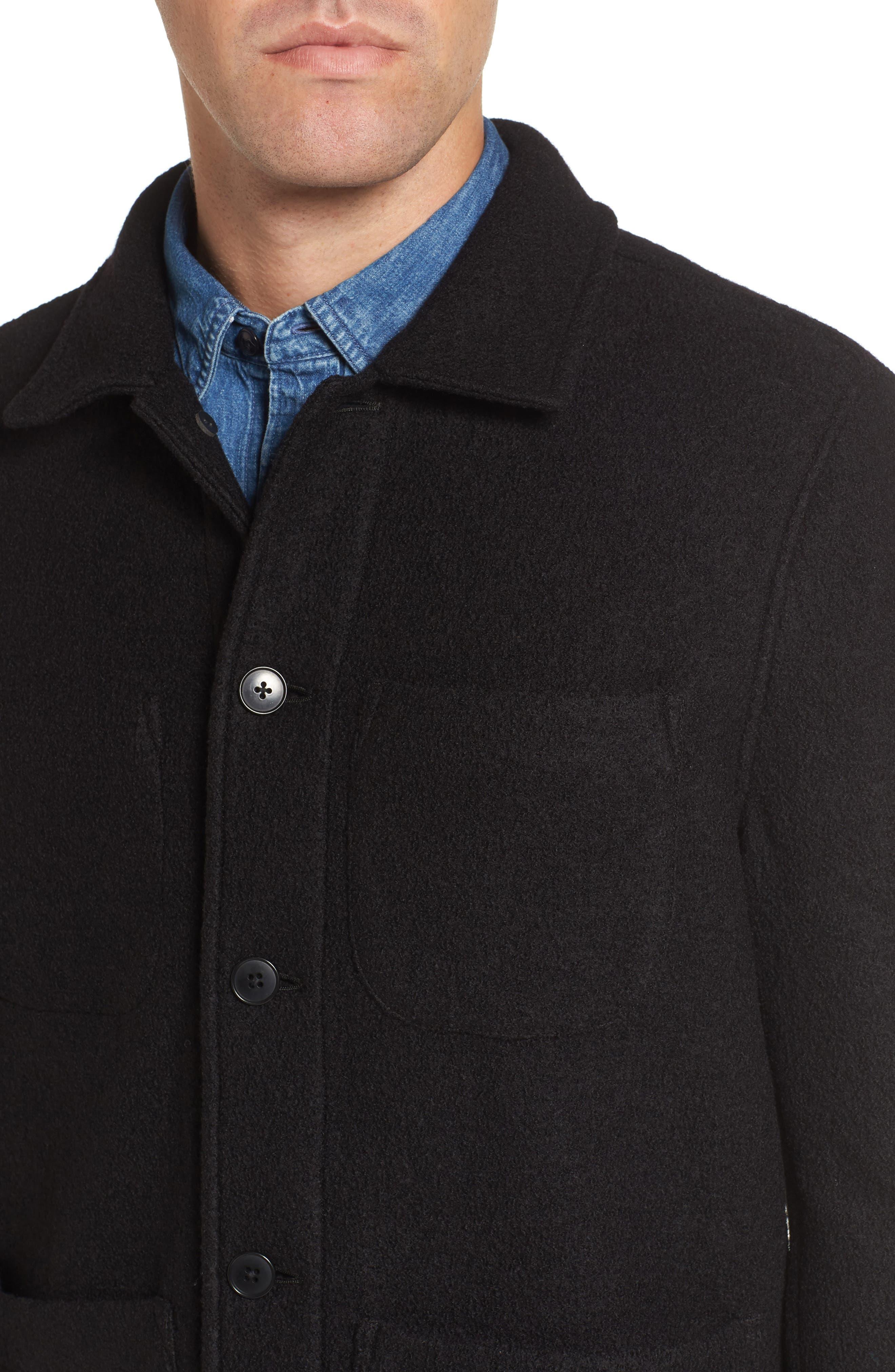 The Wool Bouclé Bomber Jacket,                             Alternate thumbnail 4, color,                             001