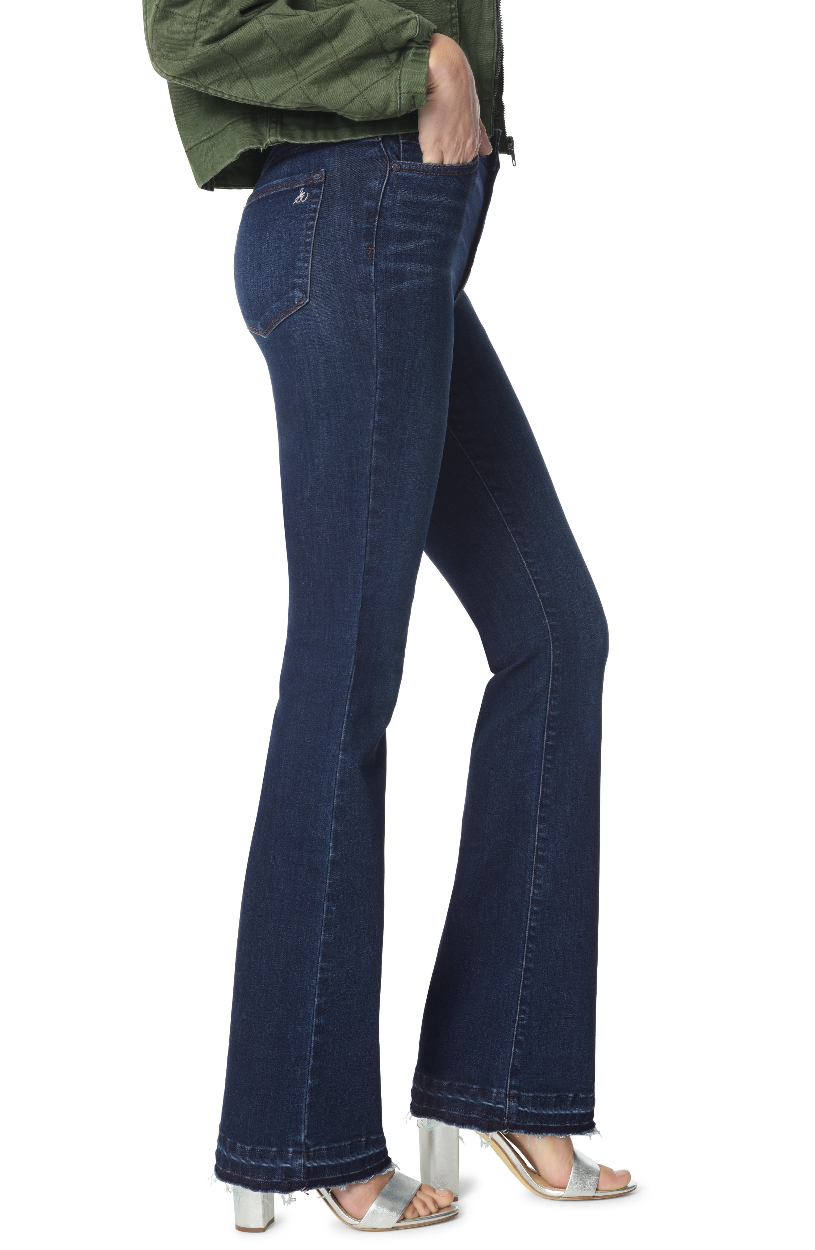 The Stiletto Raw Released Hem Bootcut Jeans,                             Alternate thumbnail 3, color,                             BABZ