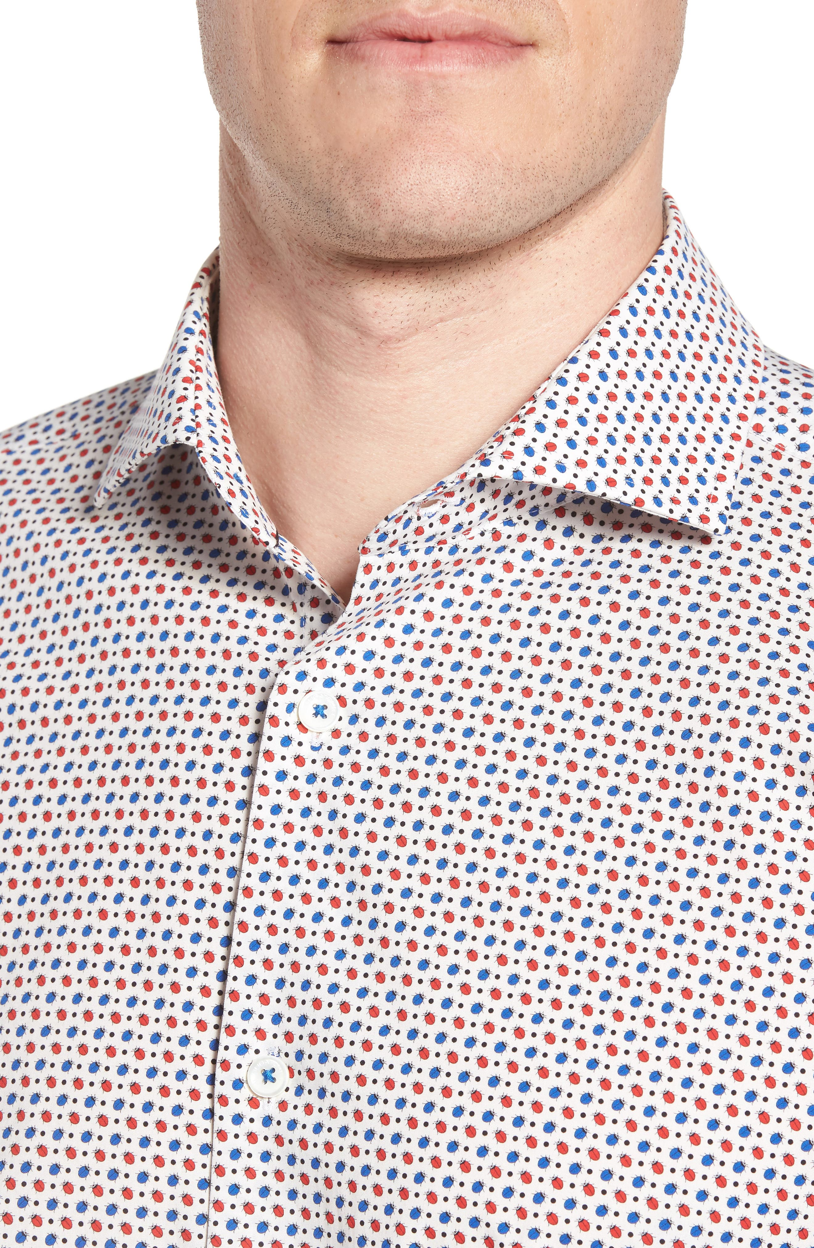 Trim Fit Print Dress Shirt,                             Alternate thumbnail 2, color,                             RUBY
