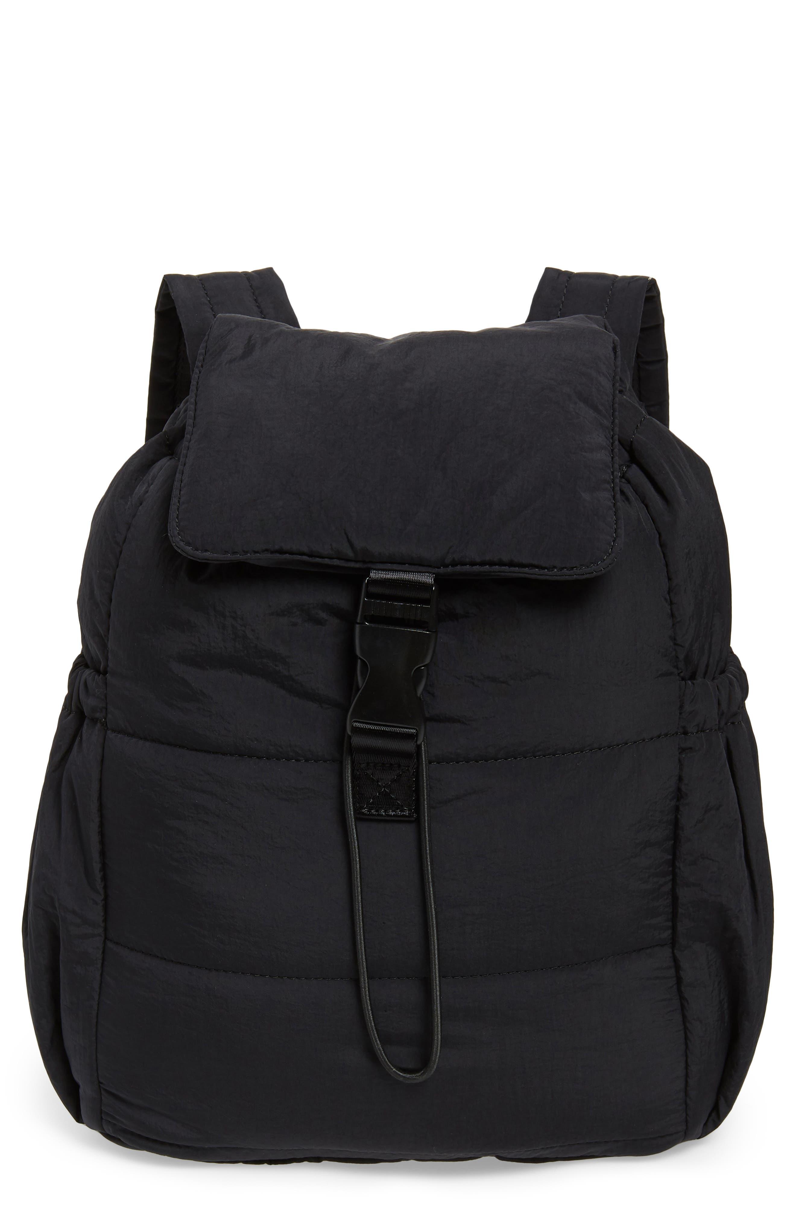 Teri Nylon Backpack,                         Main,                         color, BLACK