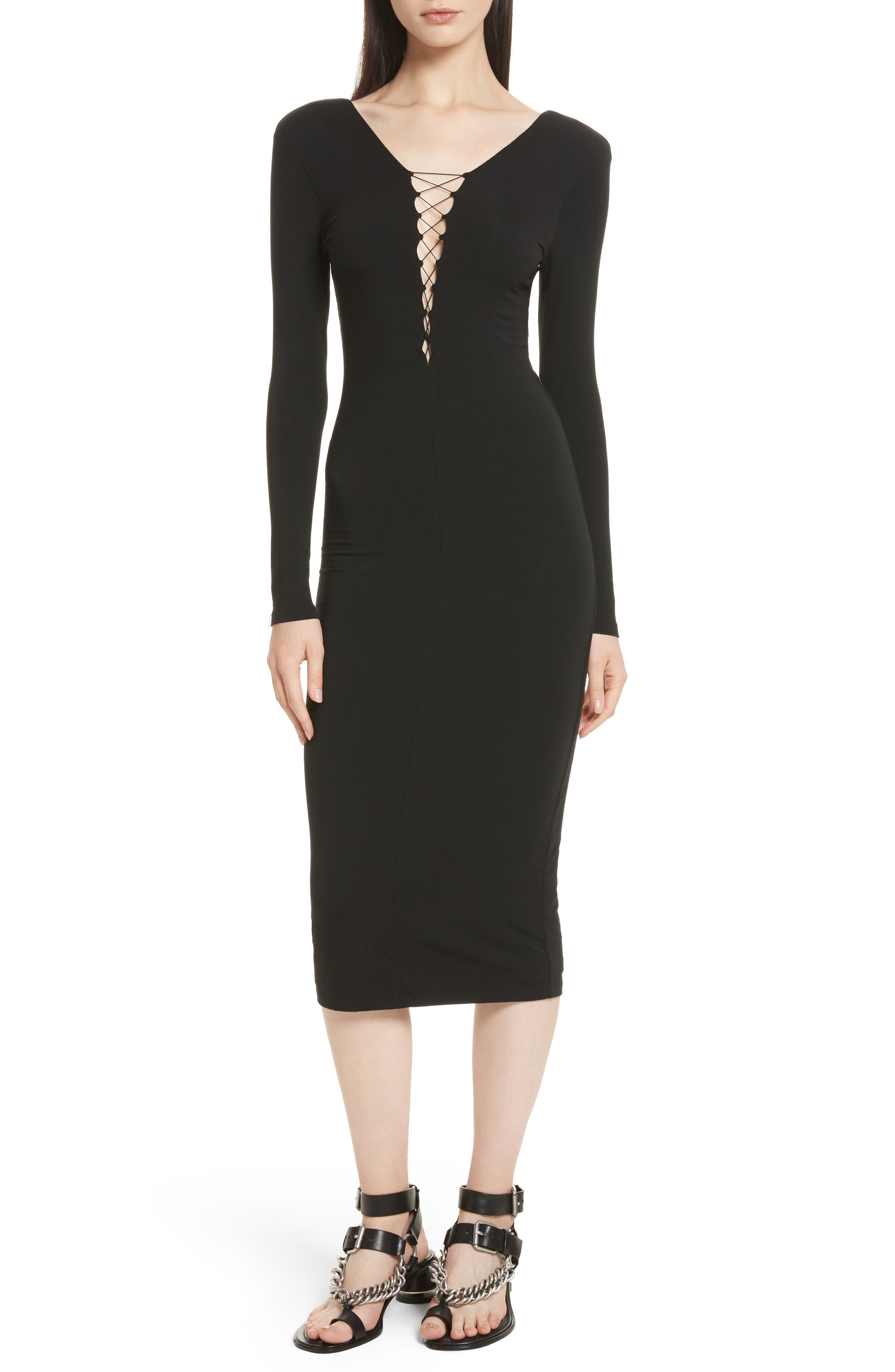T by Alexander Wang Lace-Up Stretch Jersey Midi Dress,                             Main thumbnail 1, color,                             001