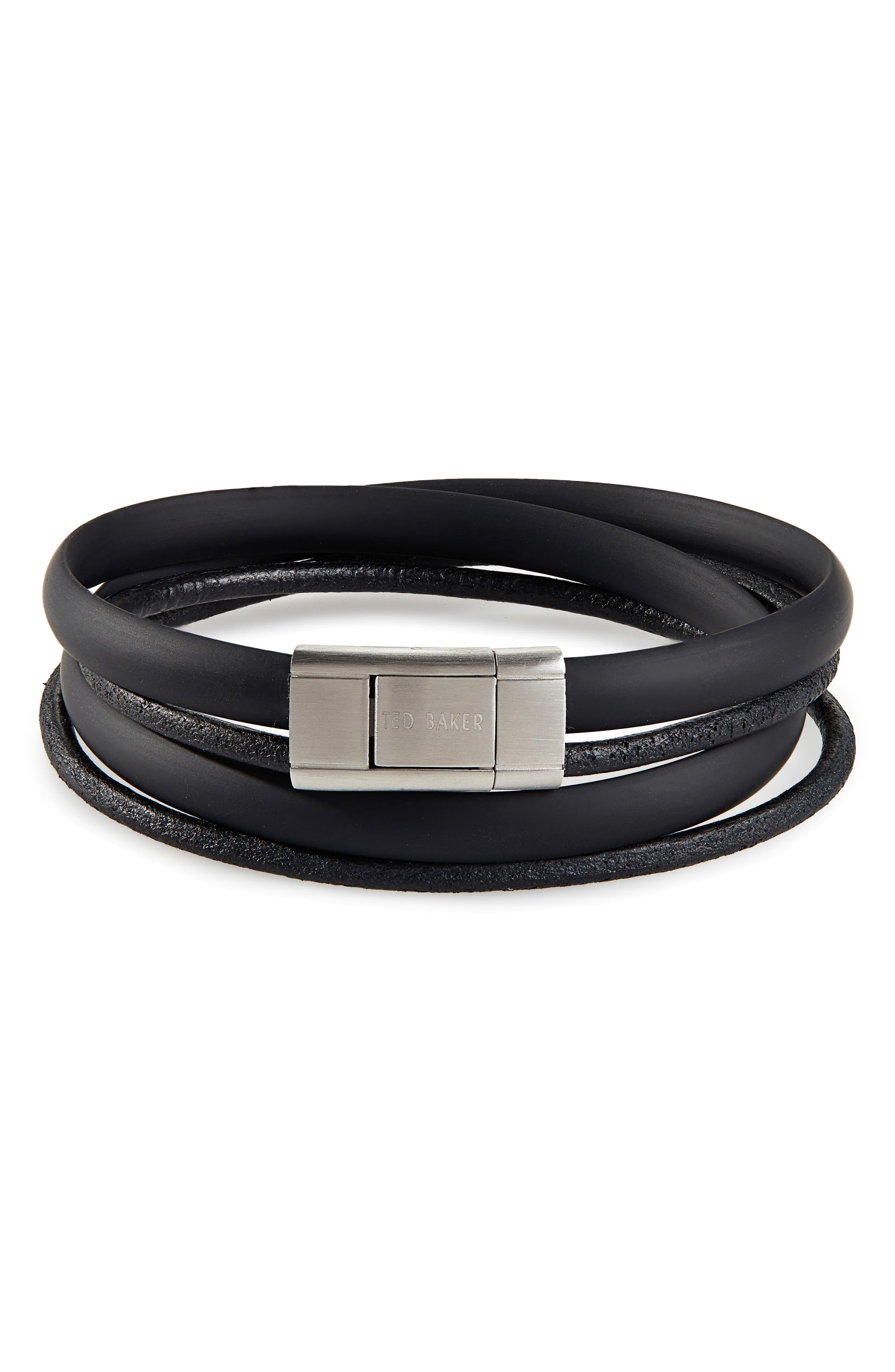Mera Leather & Rubber Wrap Bracelet,                             Main thumbnail 1, color,                             BLACK