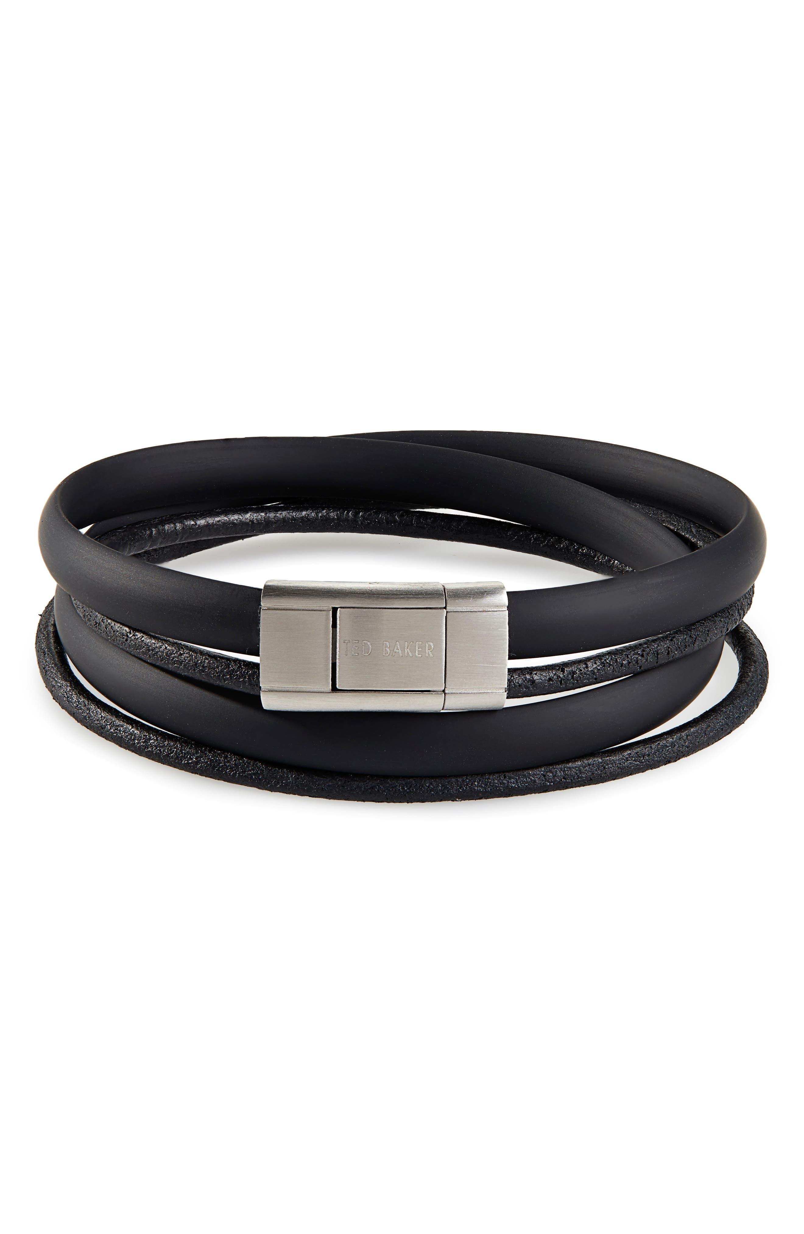 Mera Leather & Rubber Wrap Bracelet,                         Main,                         color, BLACK