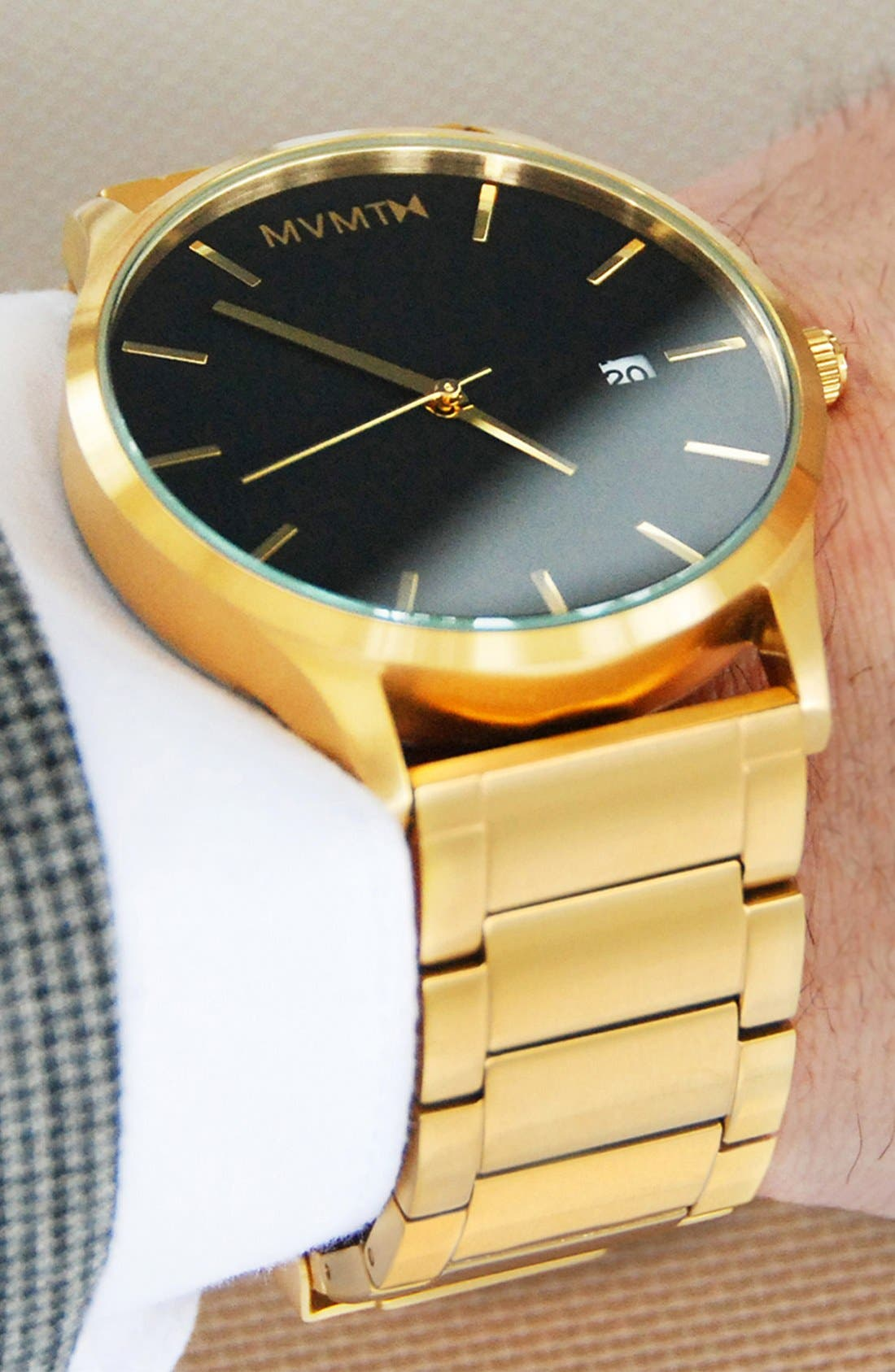 Bracelet Watch, 45mm,                             Alternate thumbnail 4, color,                             GOLD/ BLACK