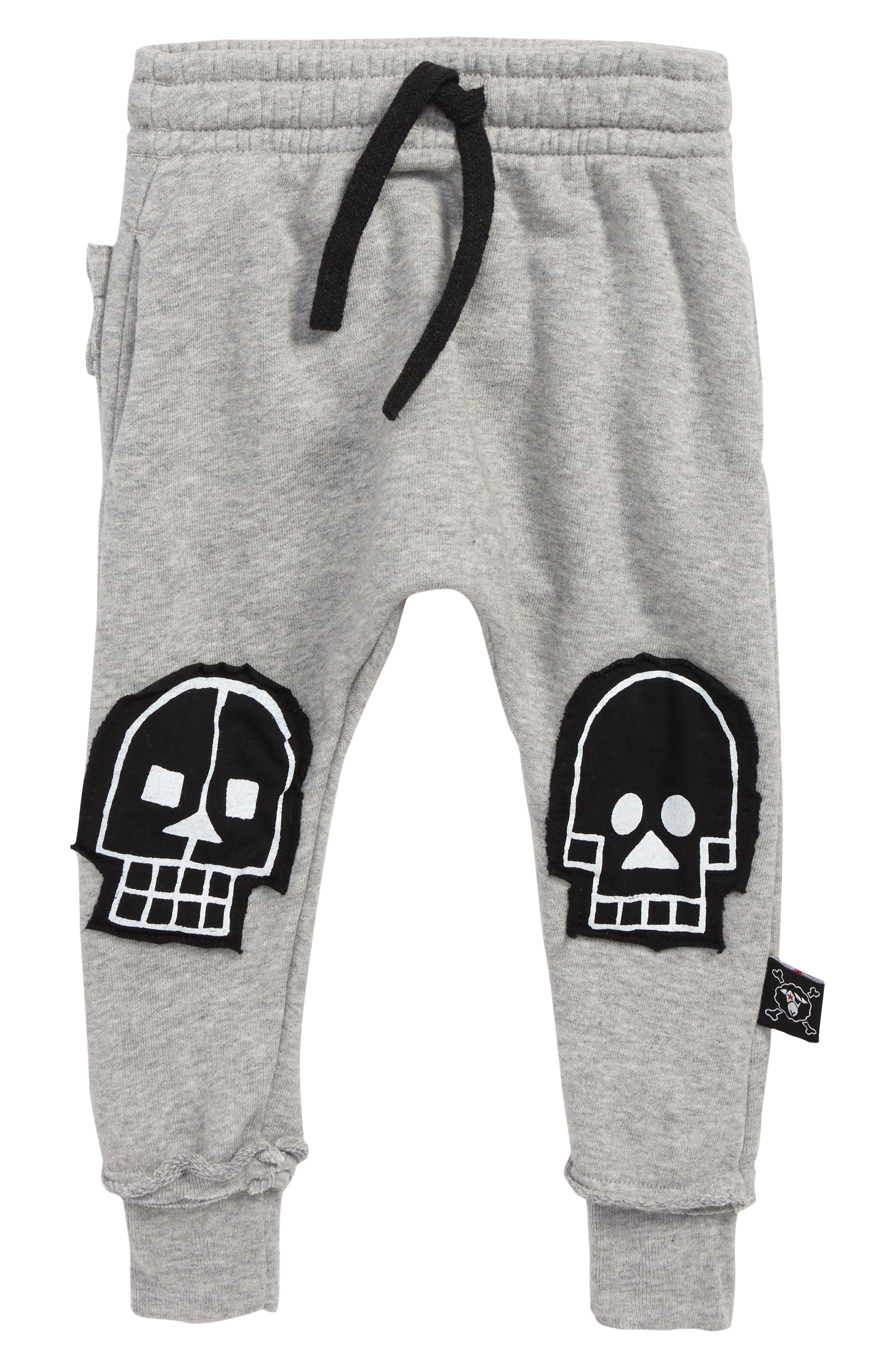 Skull Robot Patch Baggy Pants,                         Main,                         color, HEATHER GREY