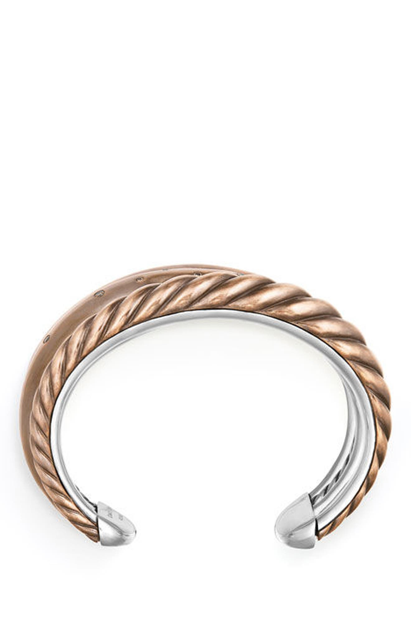 Pure Form Mixed Metal Five-Row Cuff with Diamonds, 41mm,                             Alternate thumbnail 2, color,                             COGNAC