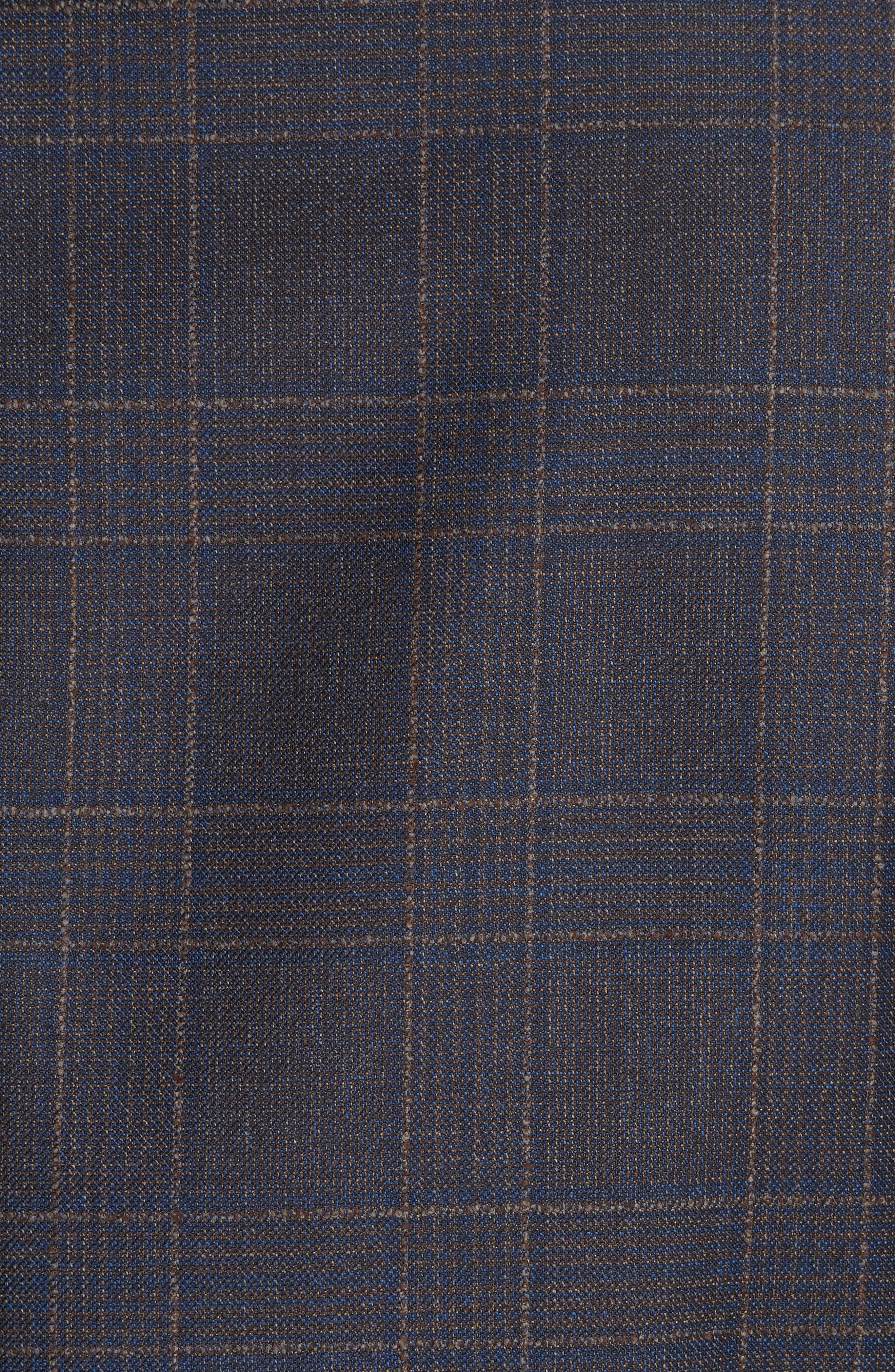 Classic Fit Plaid Wool Sport Coat,                             Alternate thumbnail 6, color,                             MED BROWN