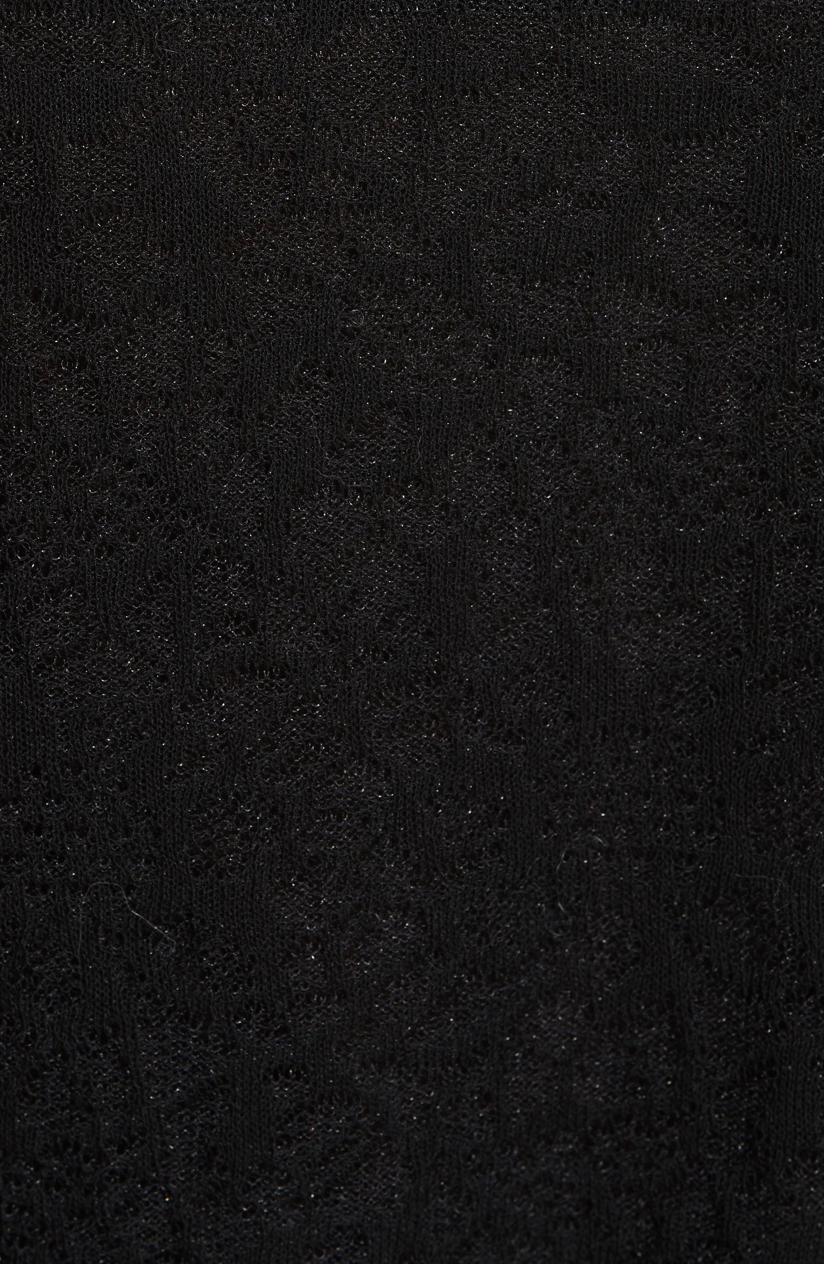 Lace Plissé Pleated Midi Dress,                             Alternate thumbnail 5, color,                             001