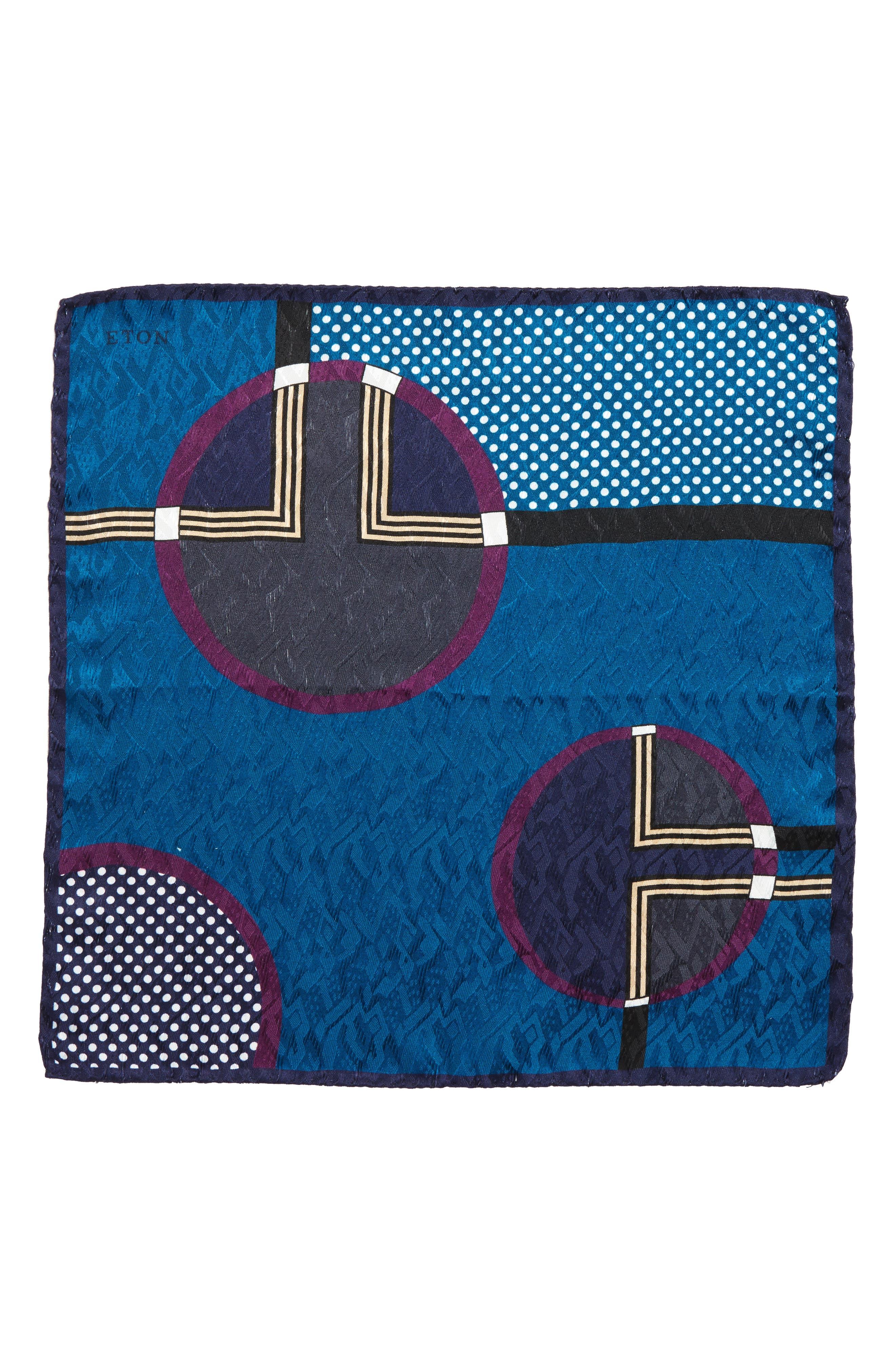 Dot Jacquard Silk Pocket Square,                             Alternate thumbnail 4, color,
