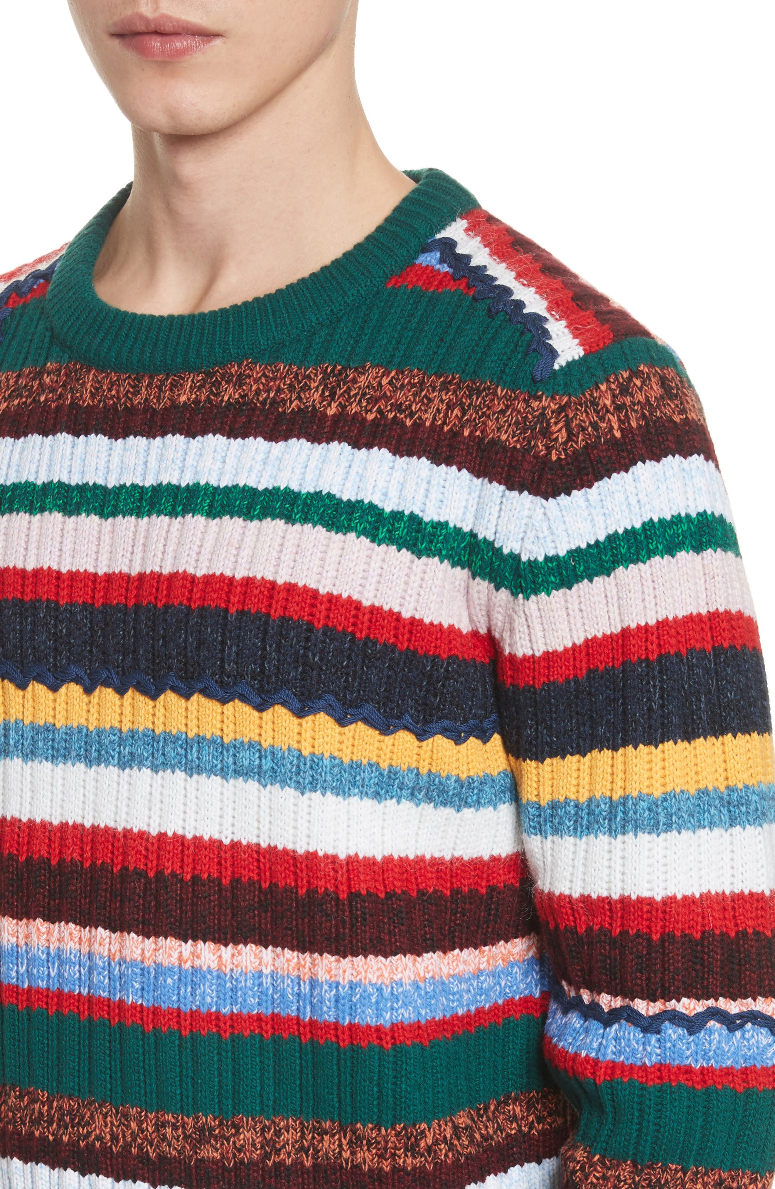 Chunky Multicolor Stripe Wool Blend Sweater,                             Alternate thumbnail 4, color,                             300