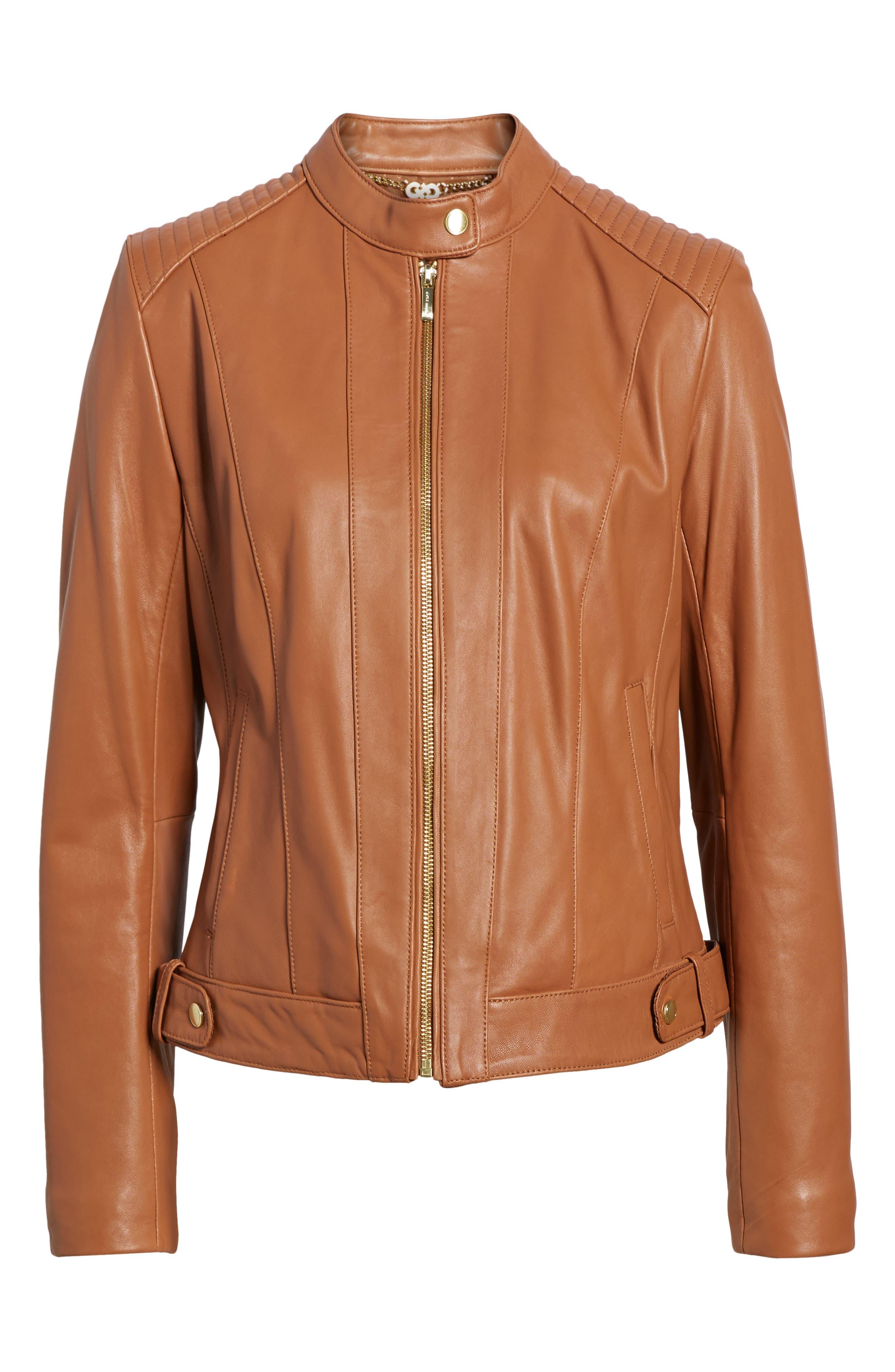 Leather Moto Jacket,                             Alternate thumbnail 5, color,                             NO_COLOR