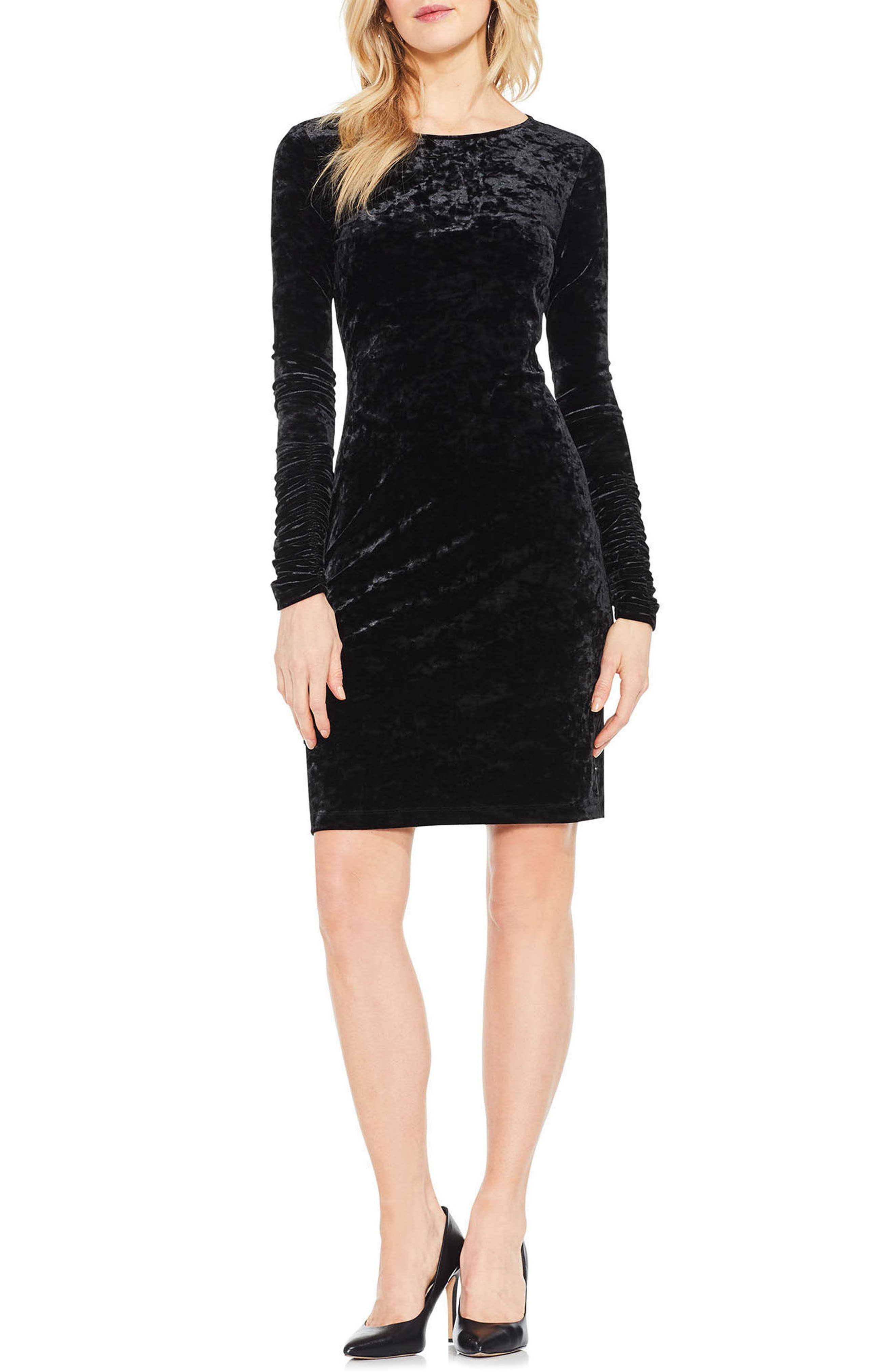 Ruched Sleeve Crushed Velvet Dress,                             Main thumbnail 1, color,                             006