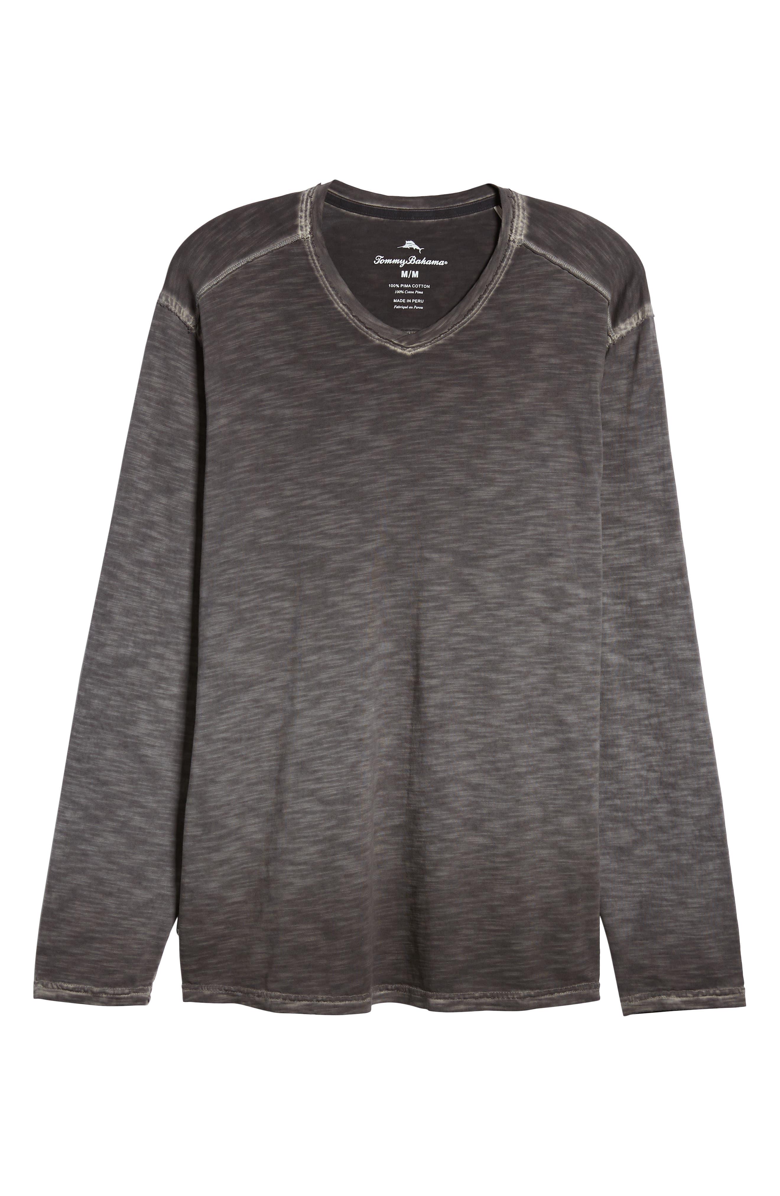 Suncoast Shores Long Sleeve V-Neck T-Shirt,                             Alternate thumbnail 6, color,                             COAL