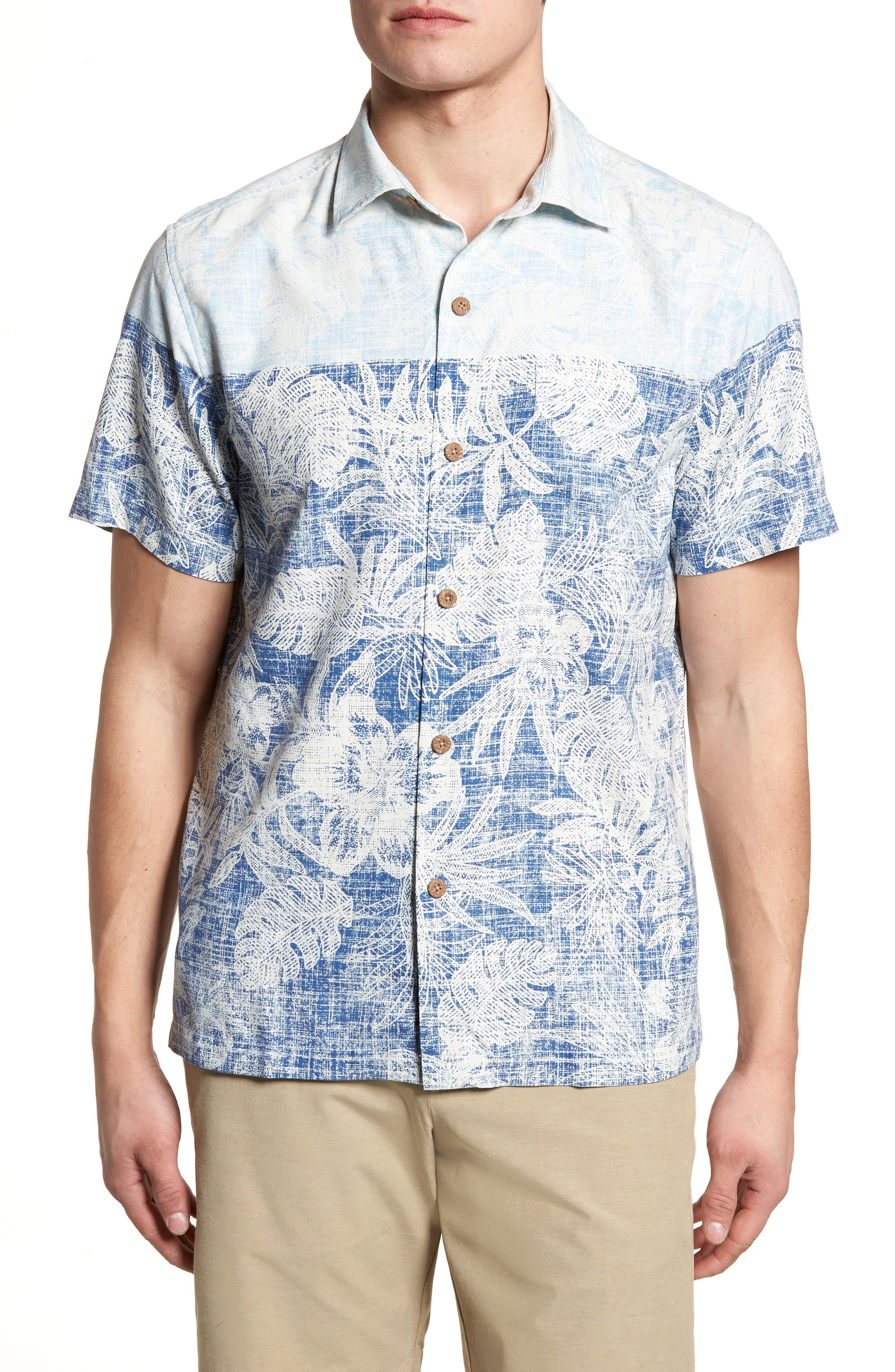 Regular Fit Rising Tides Silk Blend Sport Shirt,                             Main thumbnail 1, color,